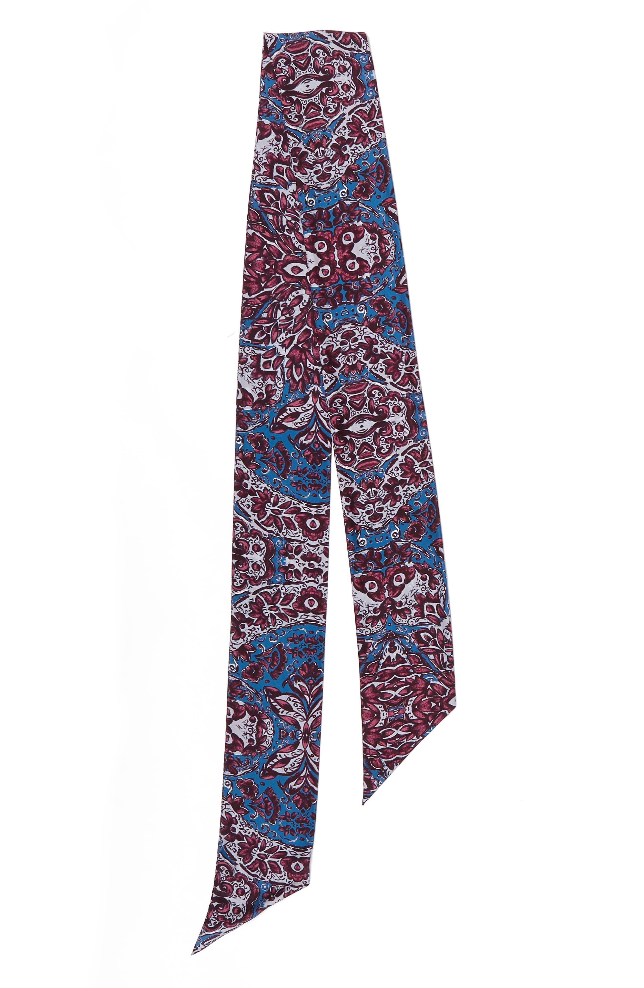 Opulent Tapestry Silk Skinny Scarf,                             Alternate thumbnail 3, color,                             420