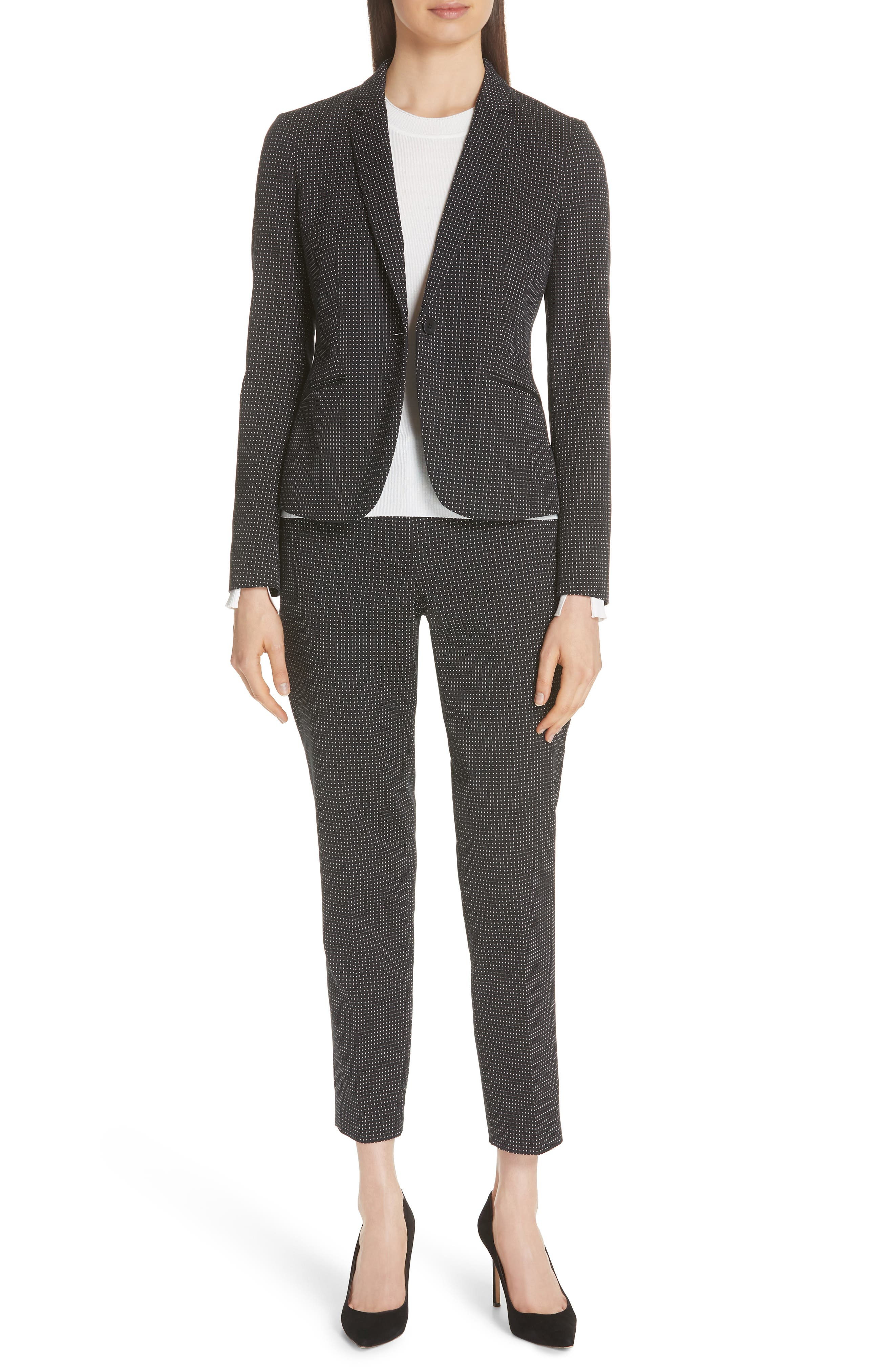 Tanitea Mini Dot Stretch Wool Suit Trousers,                             Alternate thumbnail 7, color,                             BLACK FANTASY