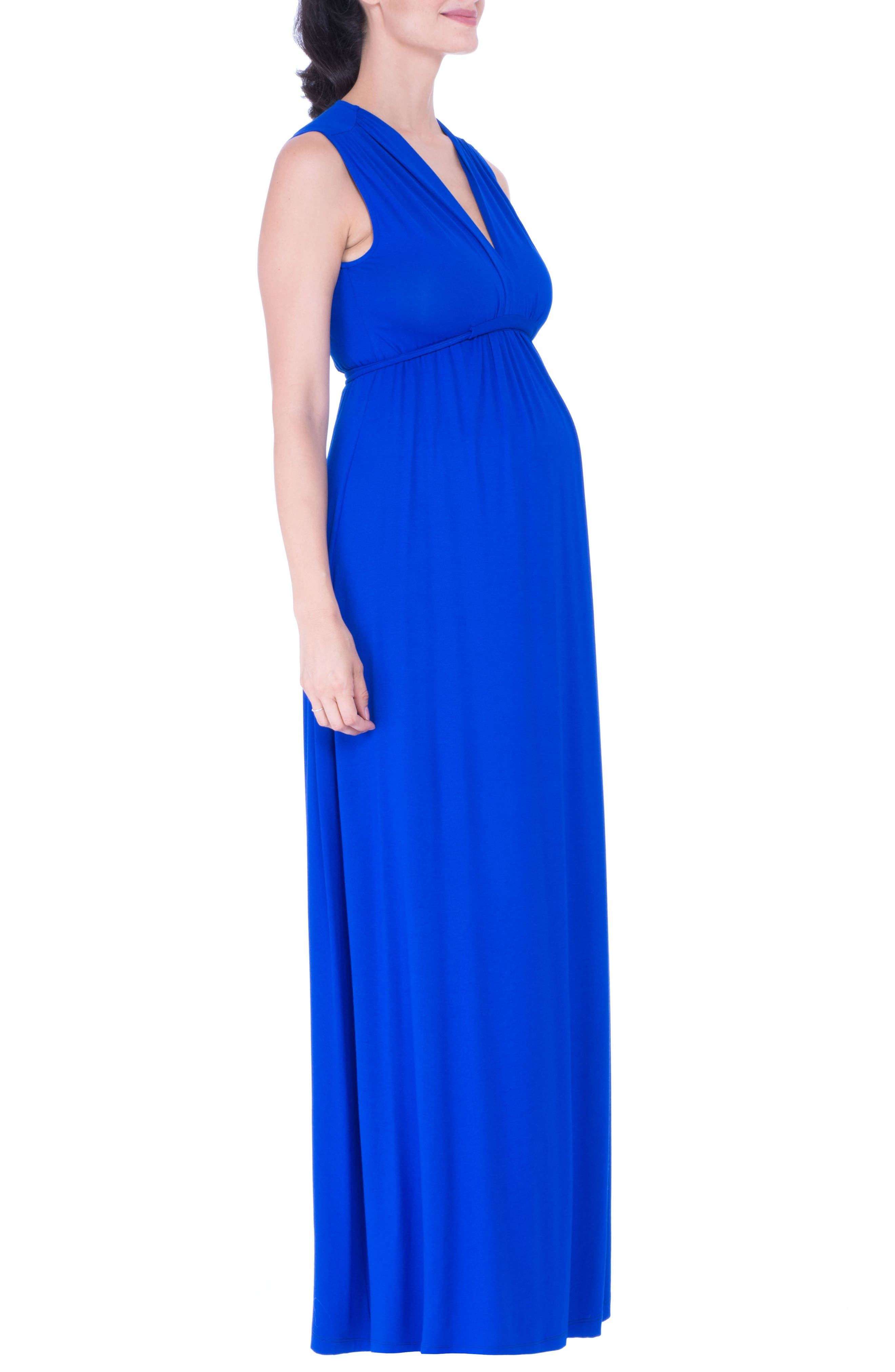 Lucy Maternity Maxi Dress,                             Alternate thumbnail 3, color,                             BLUE