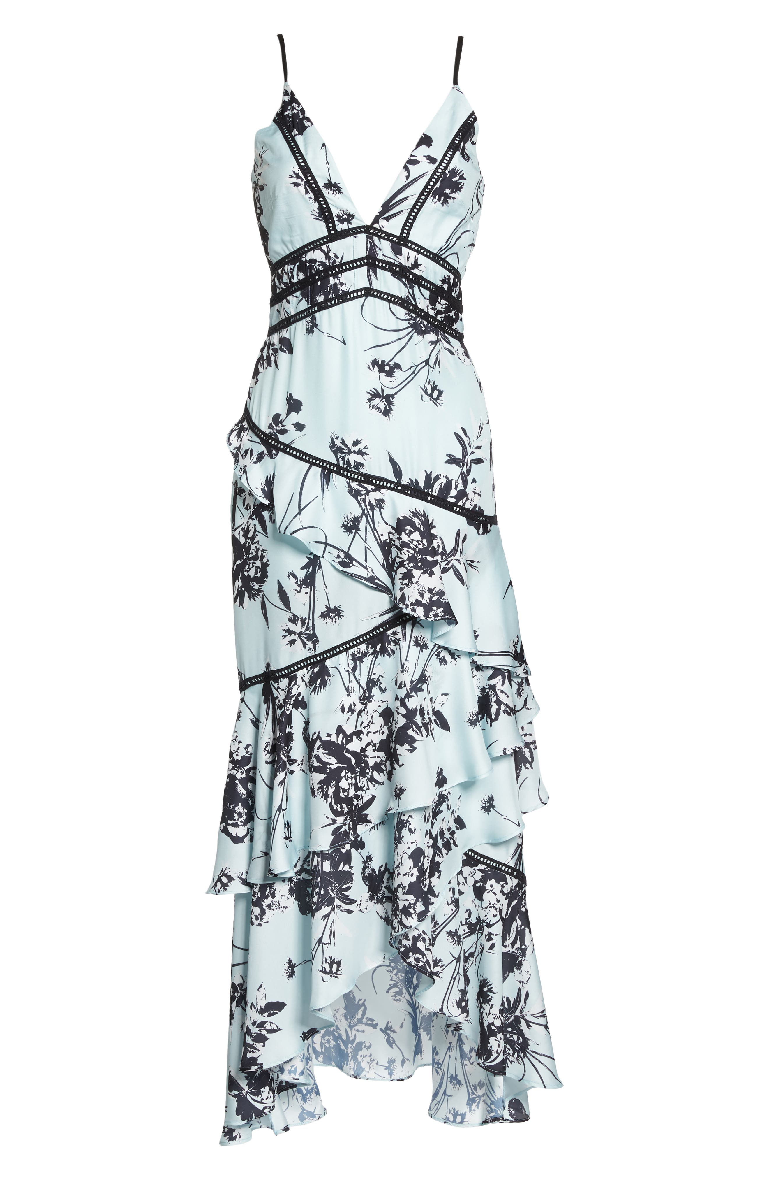 Floral Print Ruffle Gown,                             Alternate thumbnail 6, color,                             450