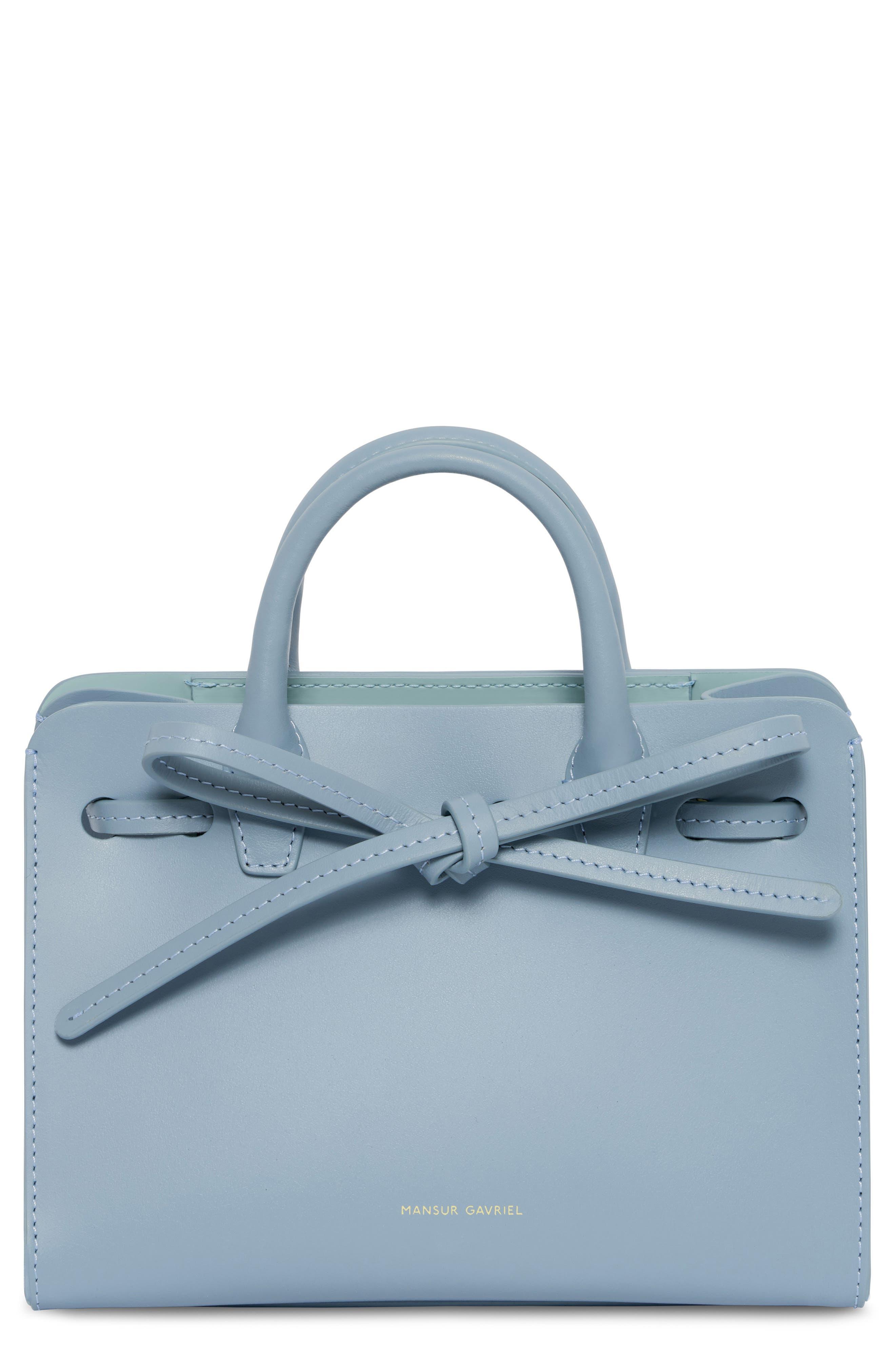 Mini Mini Sun Leather Bag - Blue in Grey Blue