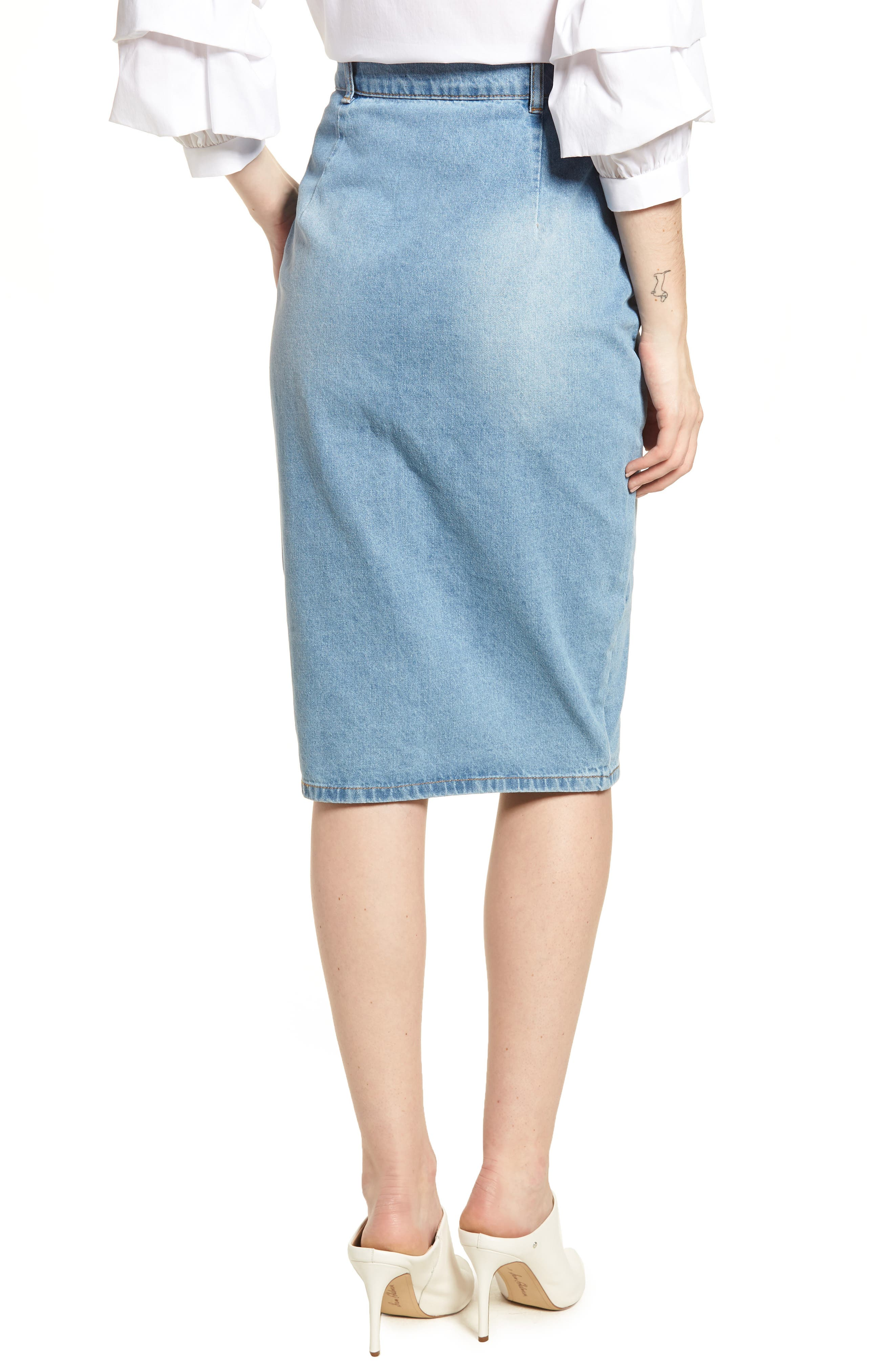 LOST INK,                             Essential Button Front Denim SKirt,                             Alternate thumbnail 2, color,                             400