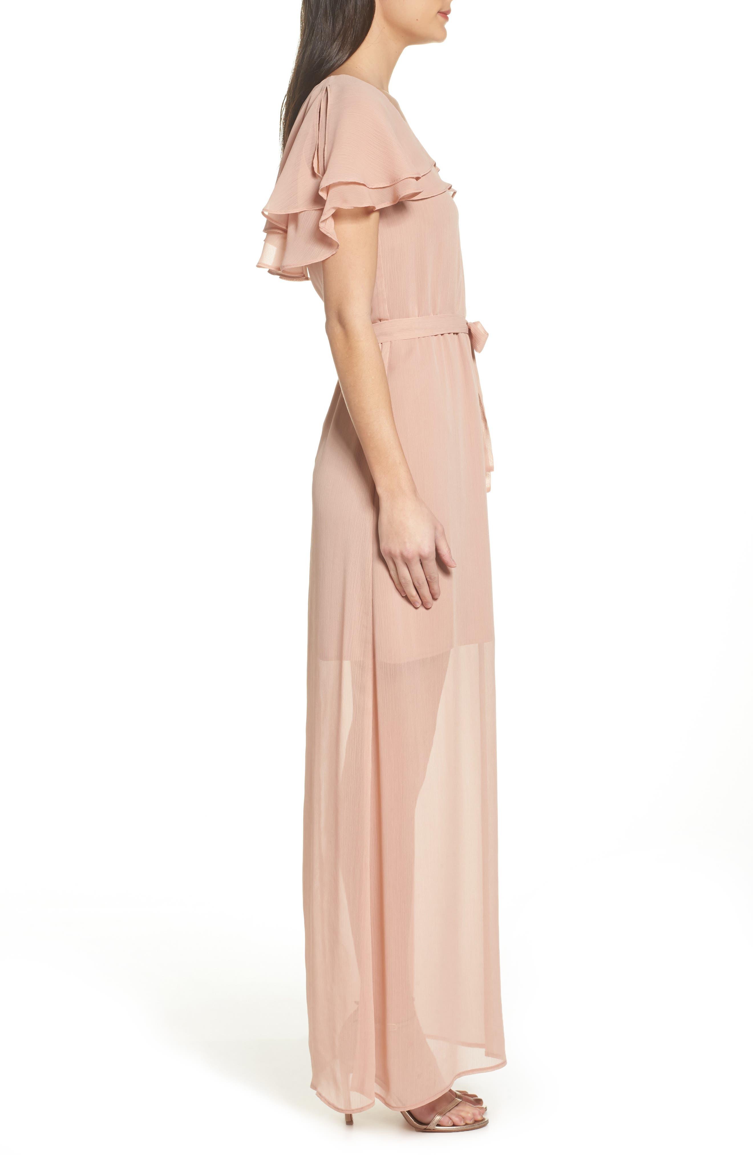 Split Sleeve Ruffle Maxi Dress,                             Alternate thumbnail 3, color,                             682