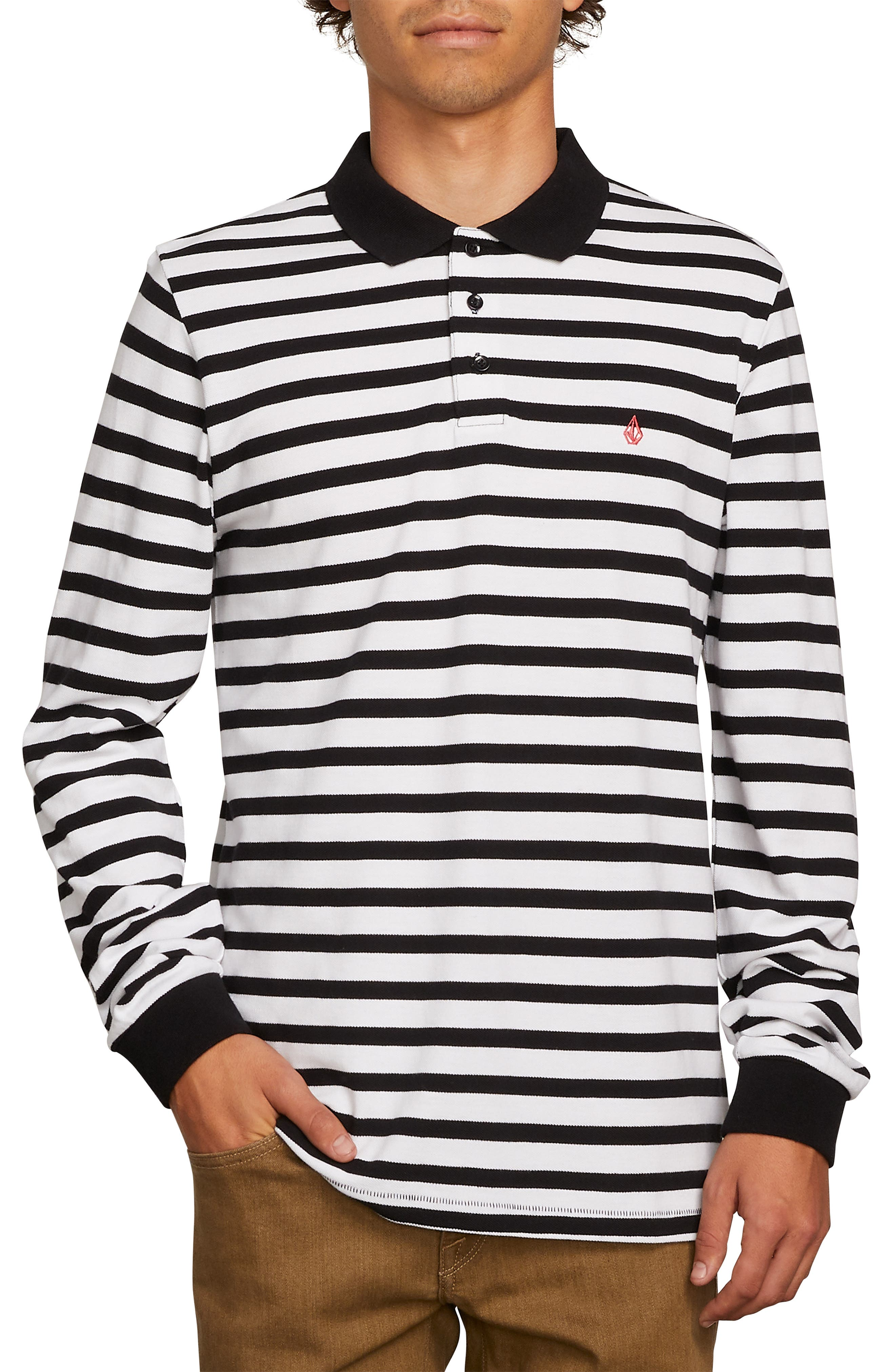 Gon James Stripe Long Sleeve Polo,                         Main,                         color, 100