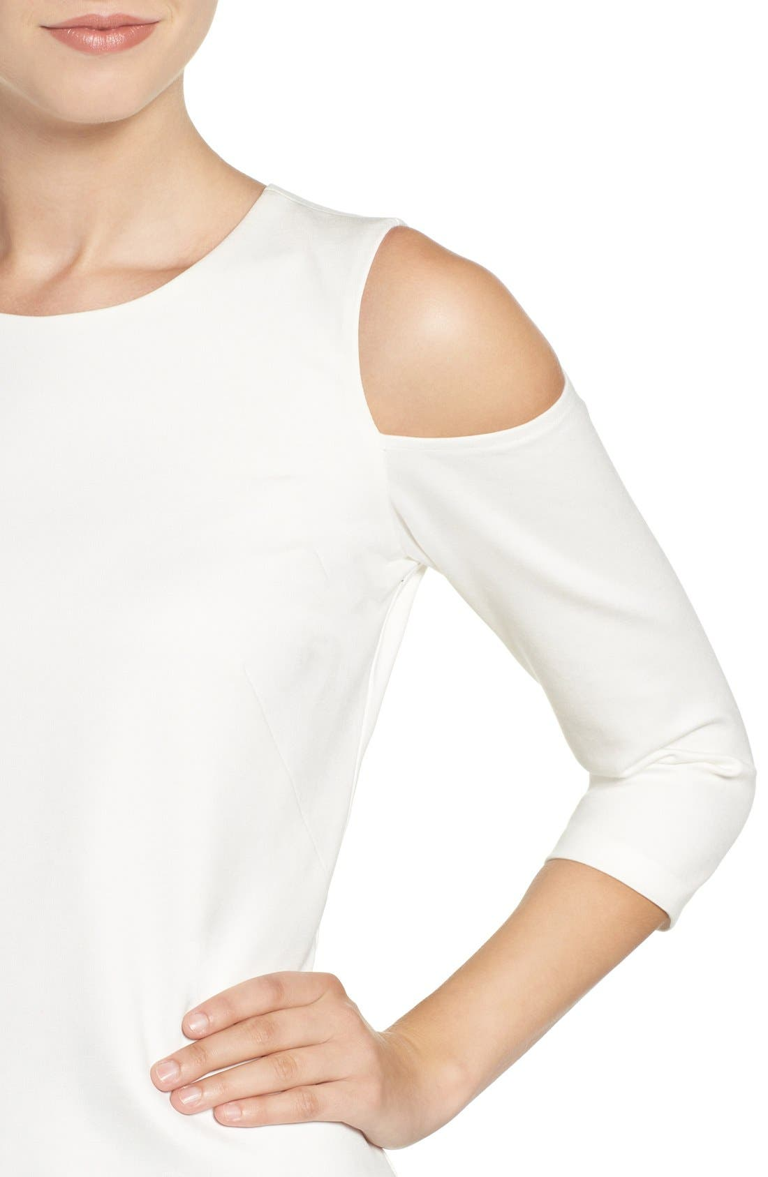 Cold Shoulder Top,                             Alternate thumbnail 6, color,                             IVORY