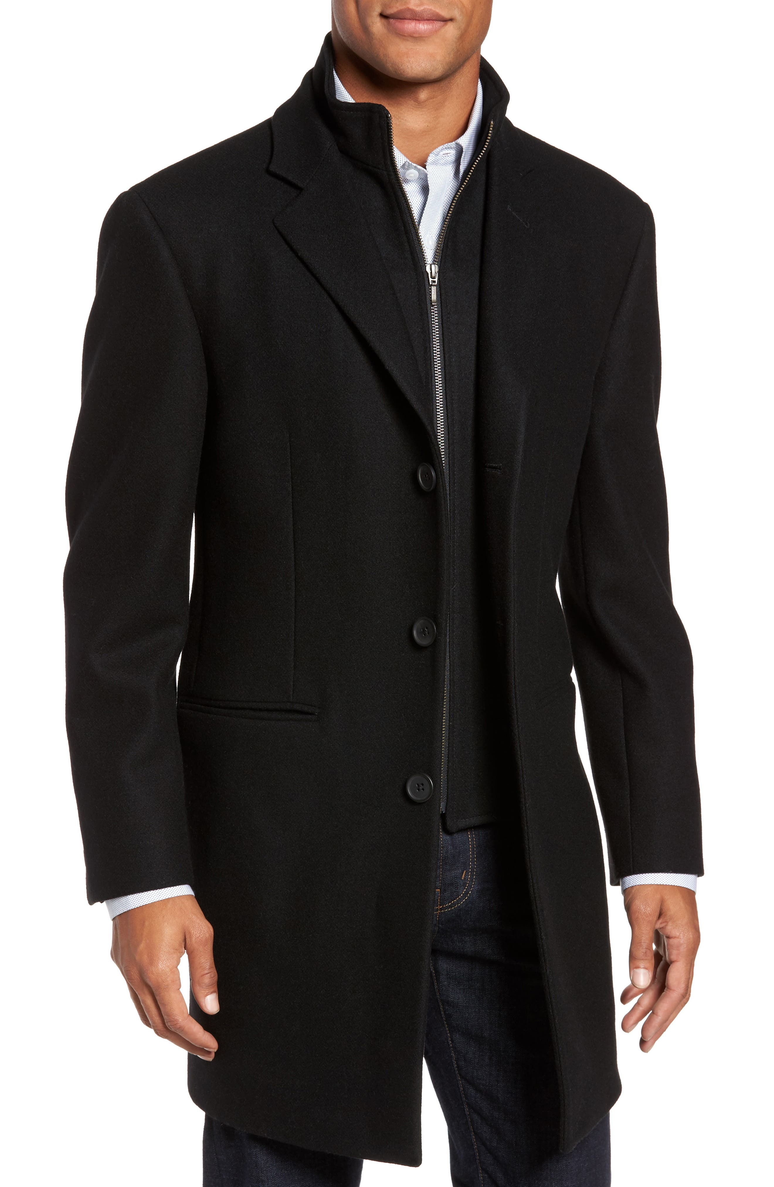 Carson Wool Blend Overcoat,                             Main thumbnail 1, color,                             001