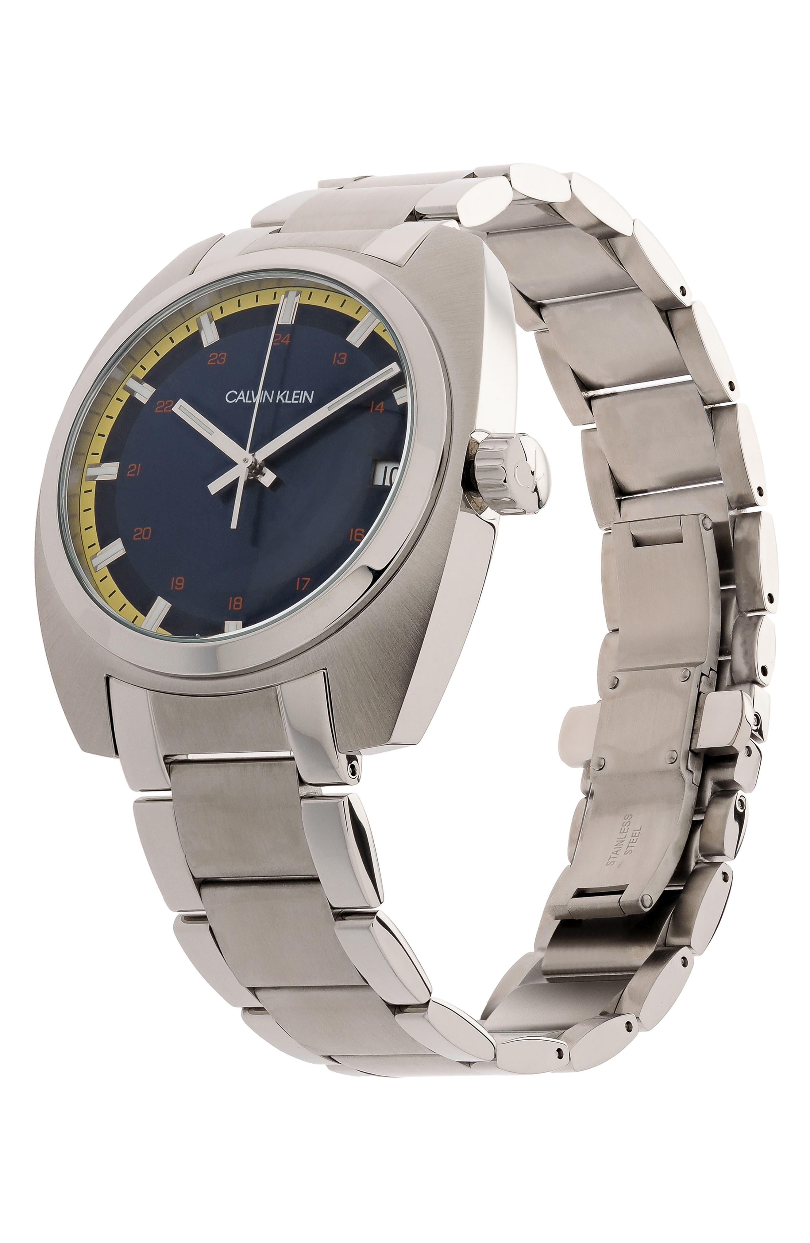 Achieve Bracelet Watch, 43mm,                             Alternate thumbnail 4, color,                             SILVER/ BLUE/ SILVER