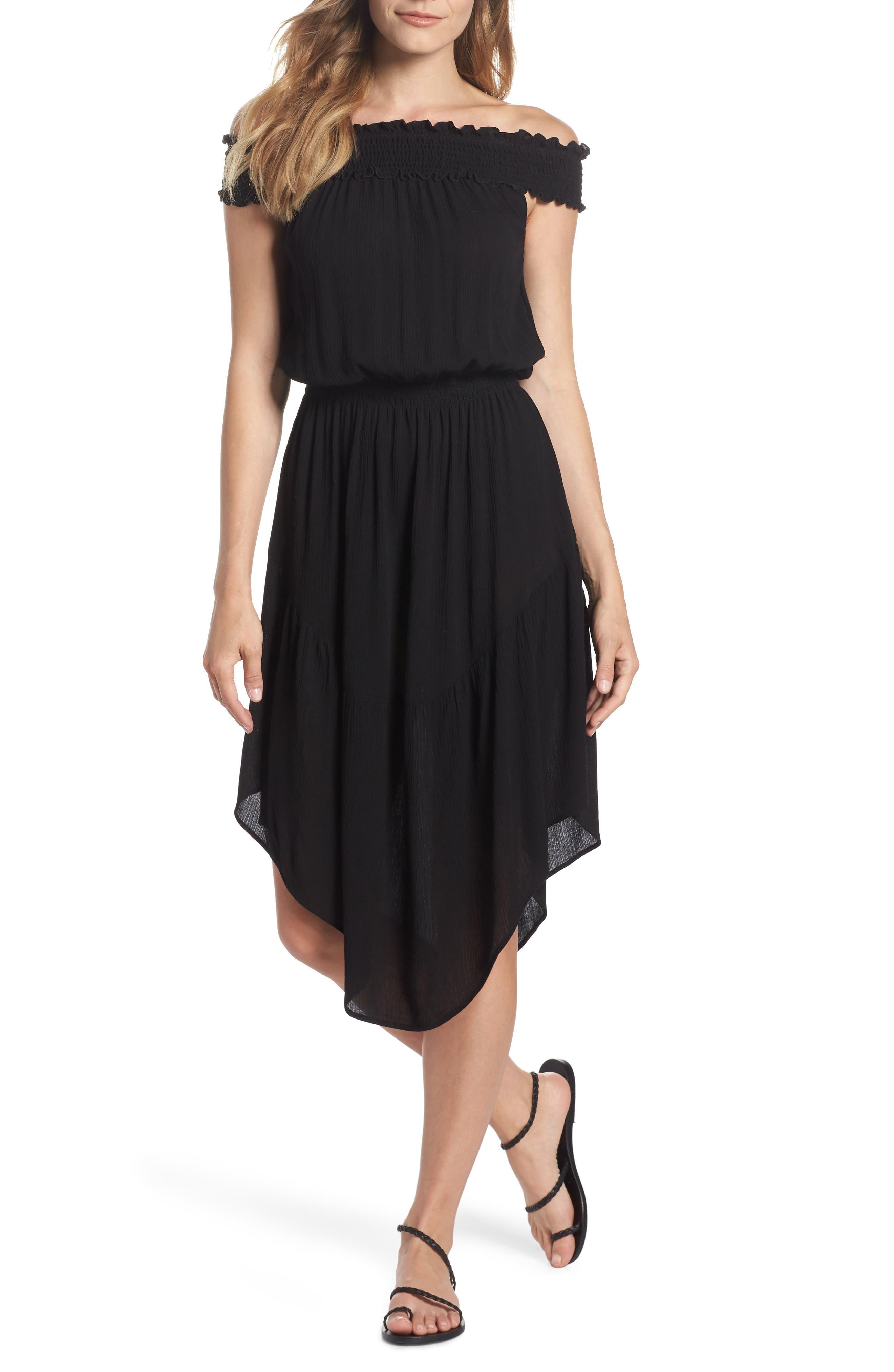 Summer Breeze Off the Shoulder Cover-Up Dress,                             Main thumbnail 1, color,                             BLACK