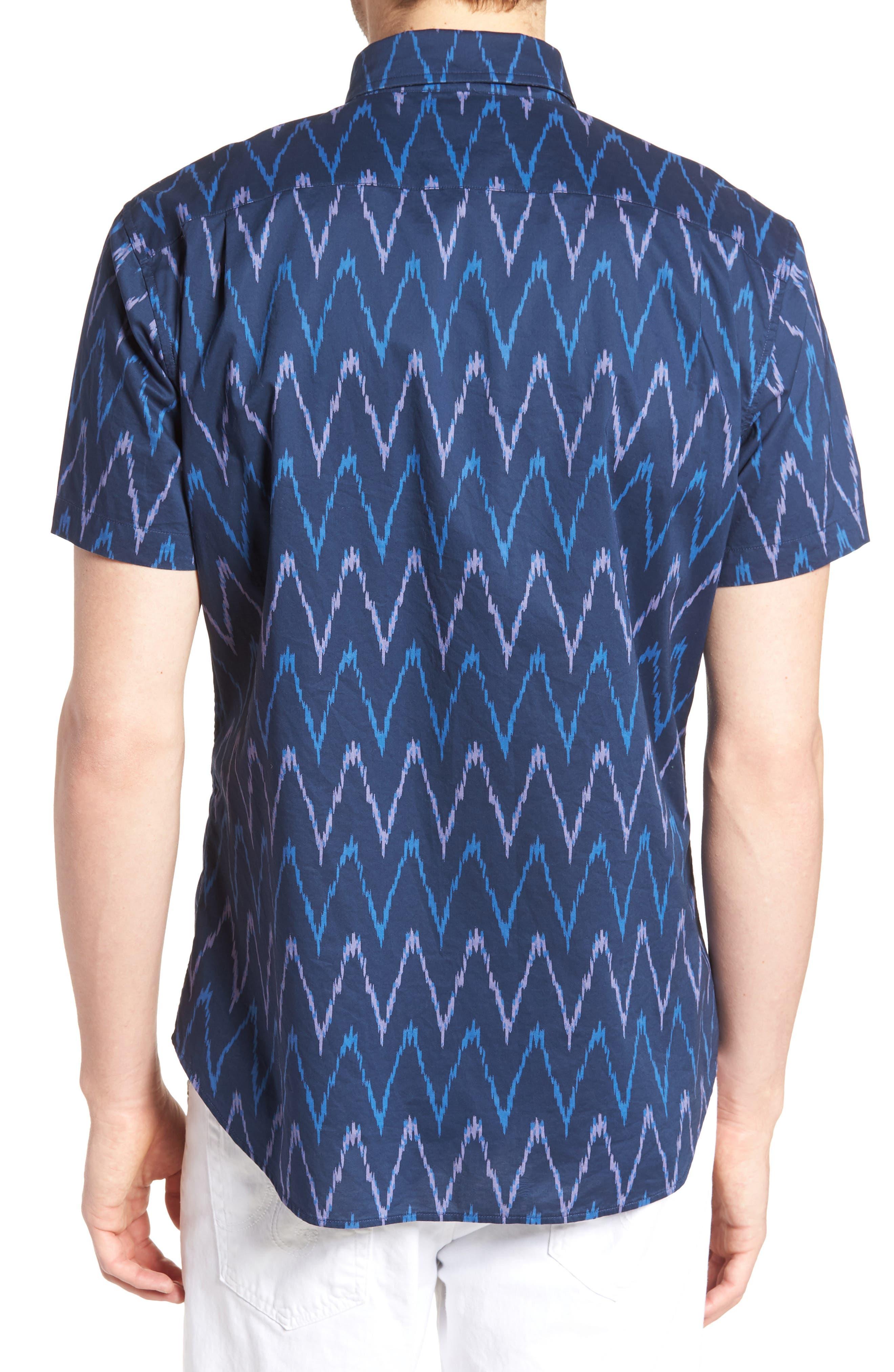 Riviera Slim Fit Ikat Print Sport Shirt,                             Alternate thumbnail 2, color,                             PRINTED IKAT - DEEP PACIFIC