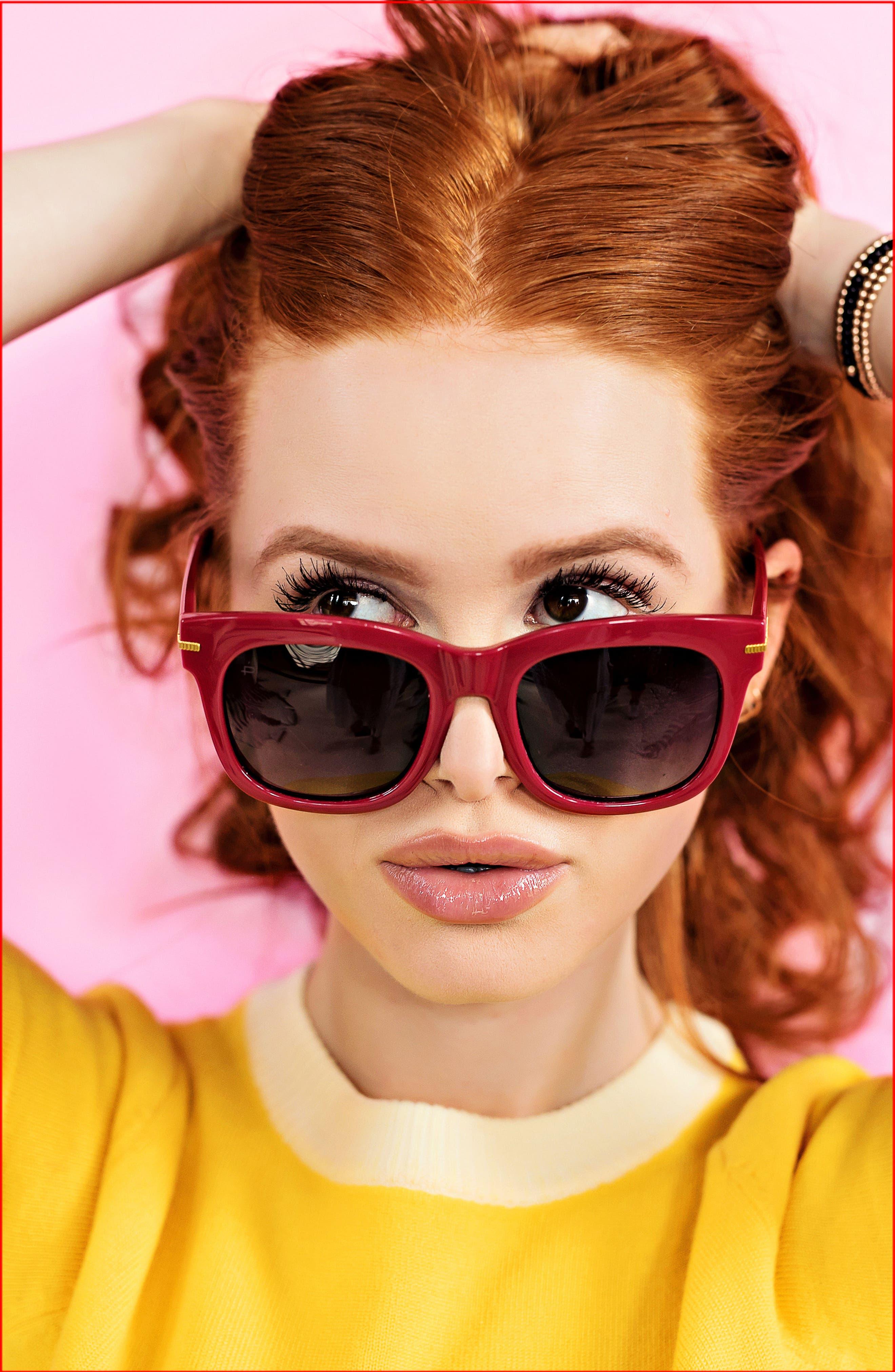 Privé Revaux x Madelaine Petsch The Clique 52mm Square Sunglasses,                             Alternate thumbnail 4, color,                             RED