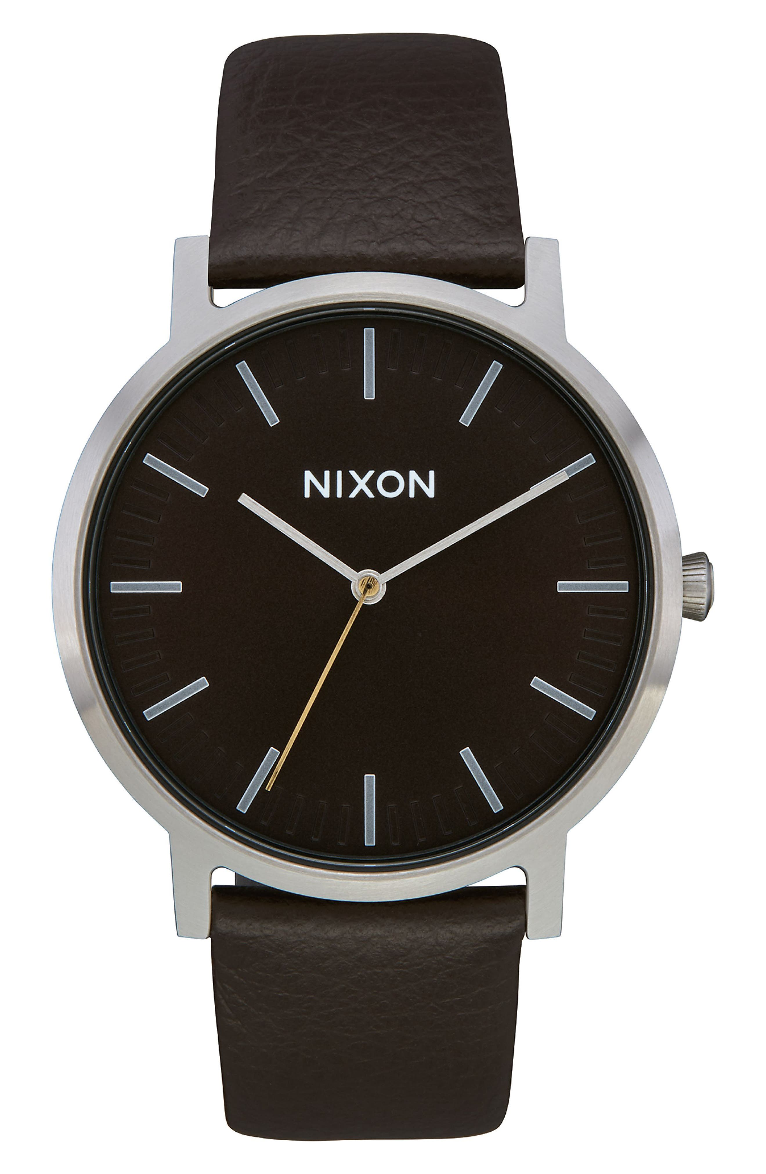 NIXON,                             The Porter Leather Strap Watch, 40mm,                             Main thumbnail 1, color,                             BROWN/ SILVER