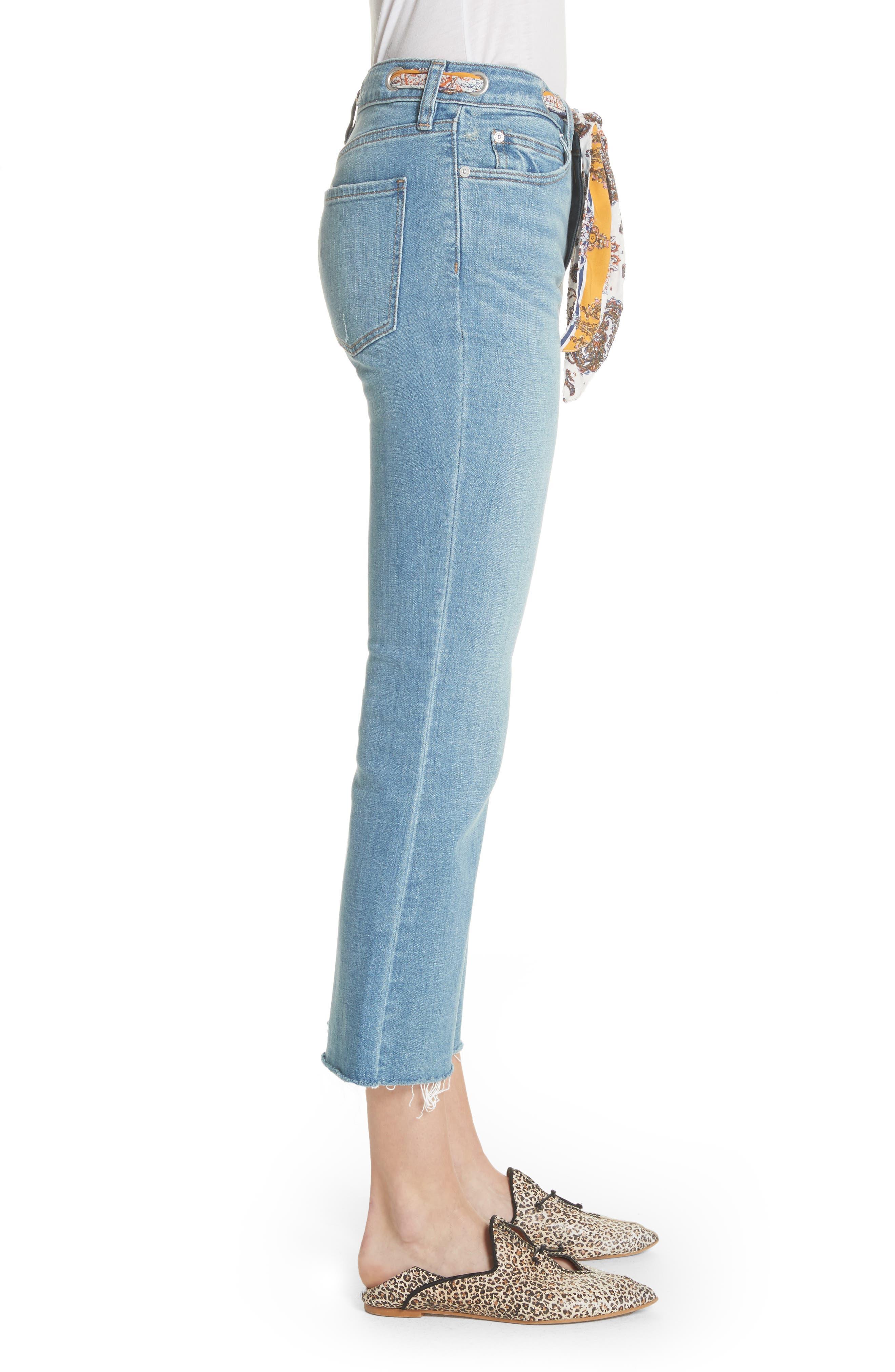 Belt Out High Waist Crop Bootcut Jeans,                             Alternate thumbnail 3, color,                             400