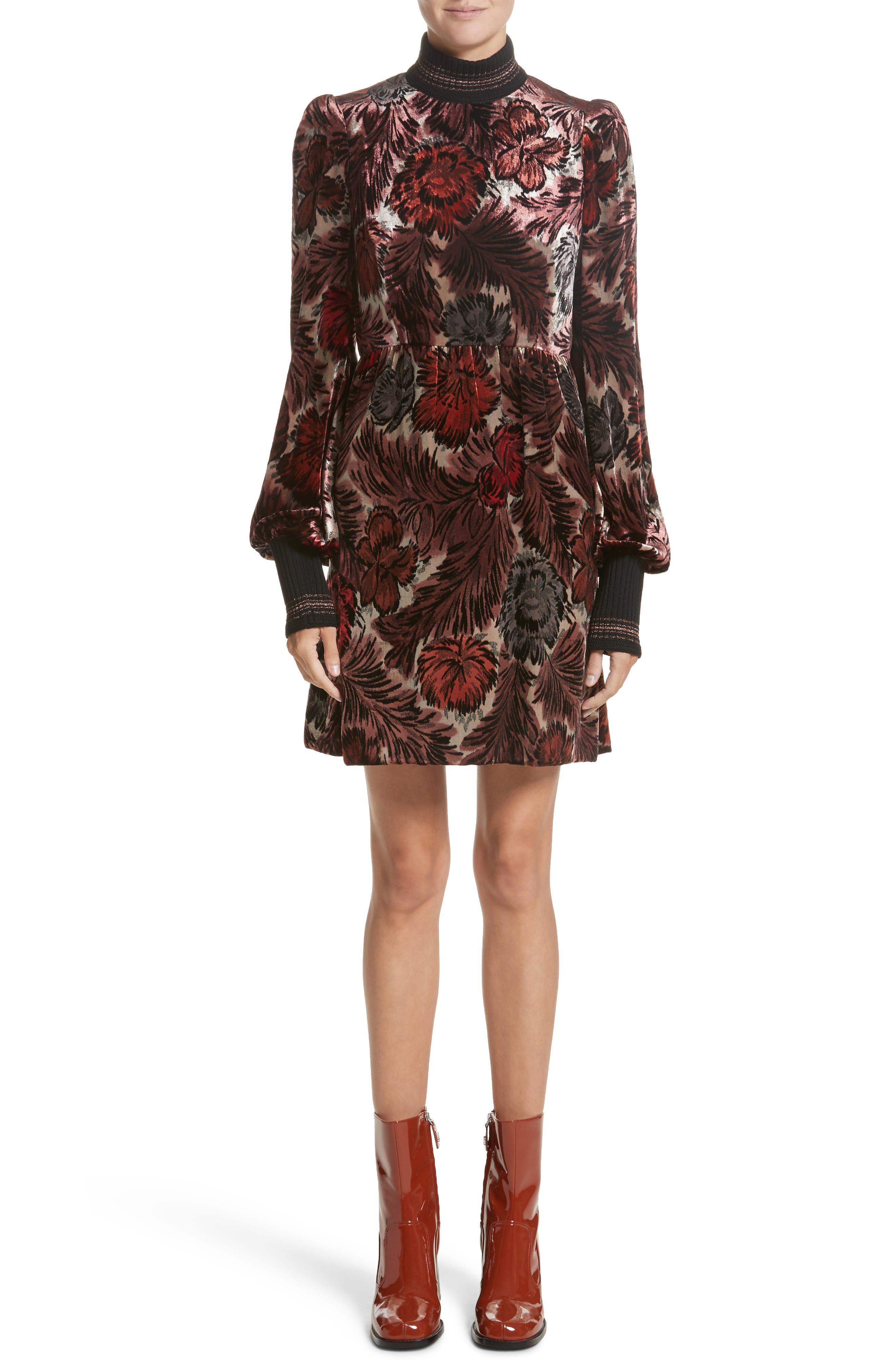 Floral Velvet Mock Neck Dress,                         Main,                         color, 600