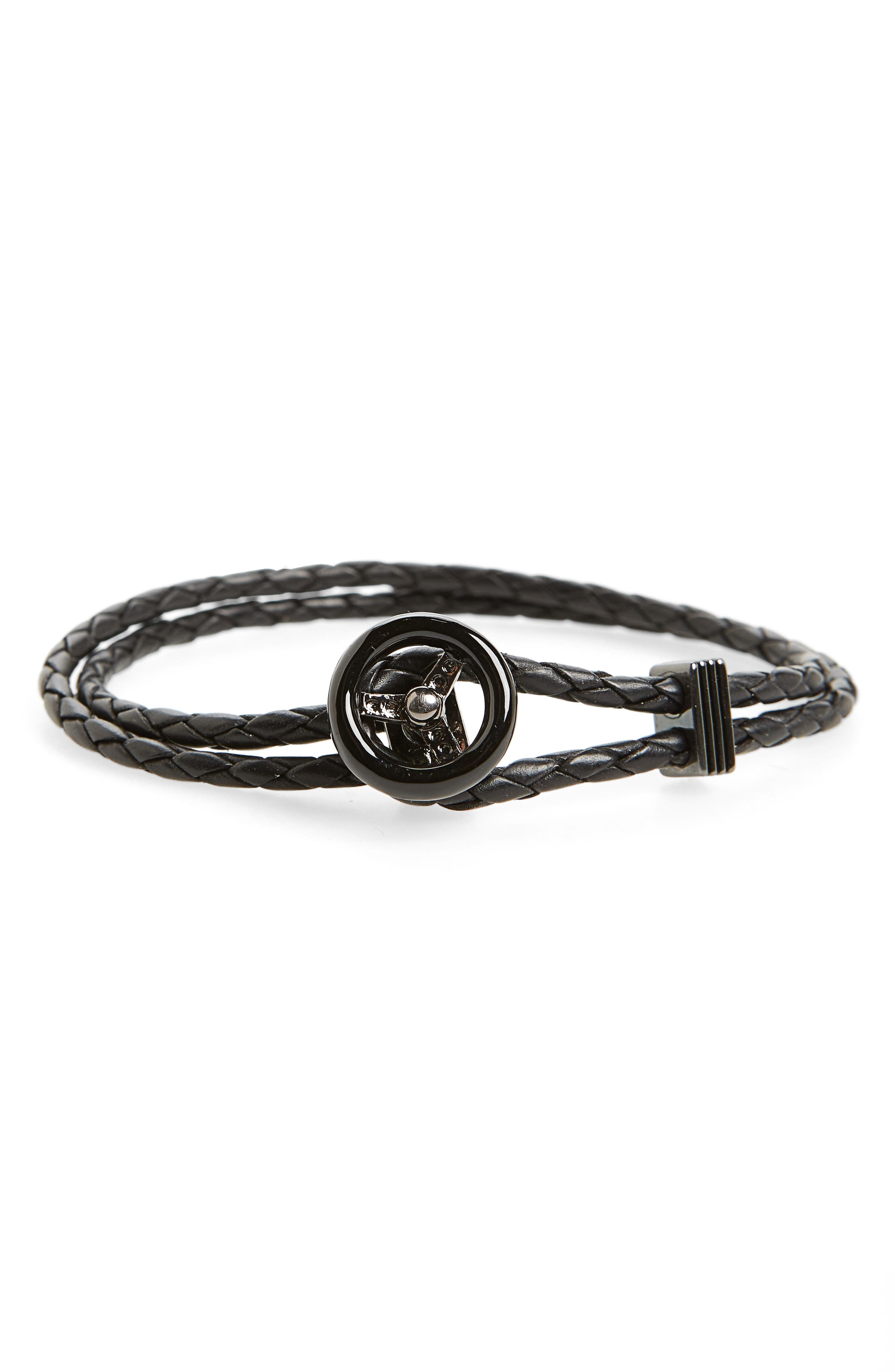 Steering Wheel Braided Leather Bracelet,                             Main thumbnail 1, color,                             001