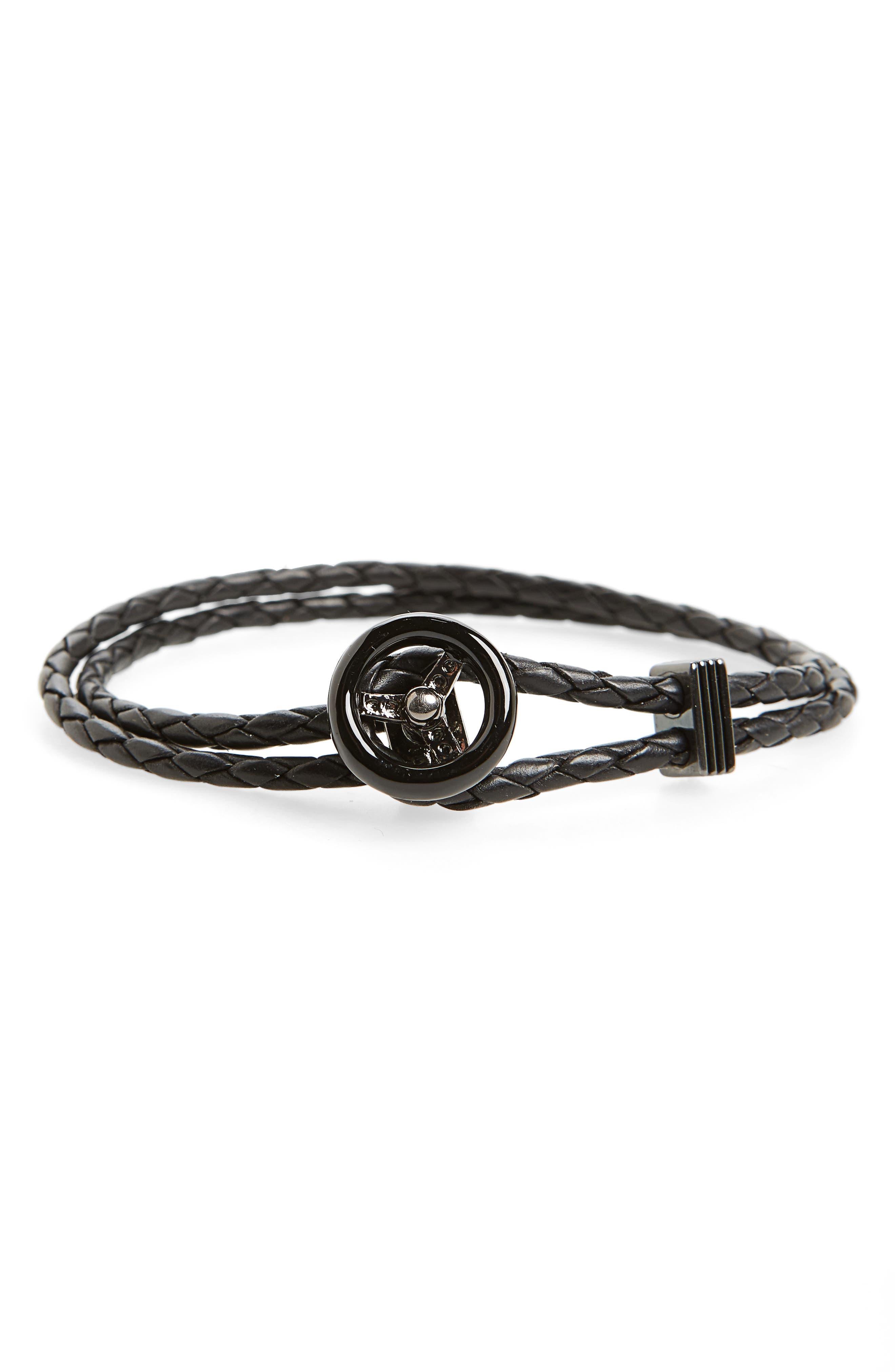 Steering Wheel Braided Leather Bracelet,                         Main,                         color, 001