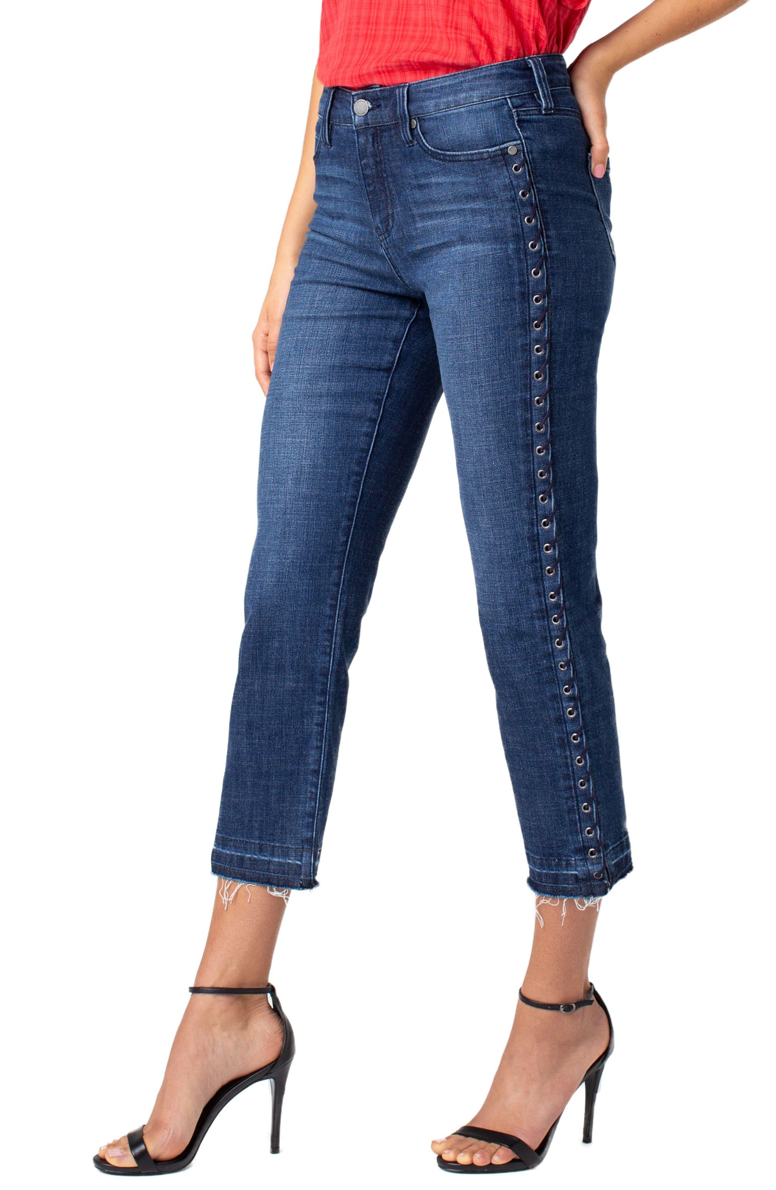 LIVERPOOL,                             Sadie Grommet High Waist Crop Straight Leg Jeans,                             Alternate thumbnail 3, color,                             MONTAUK MID BLUE