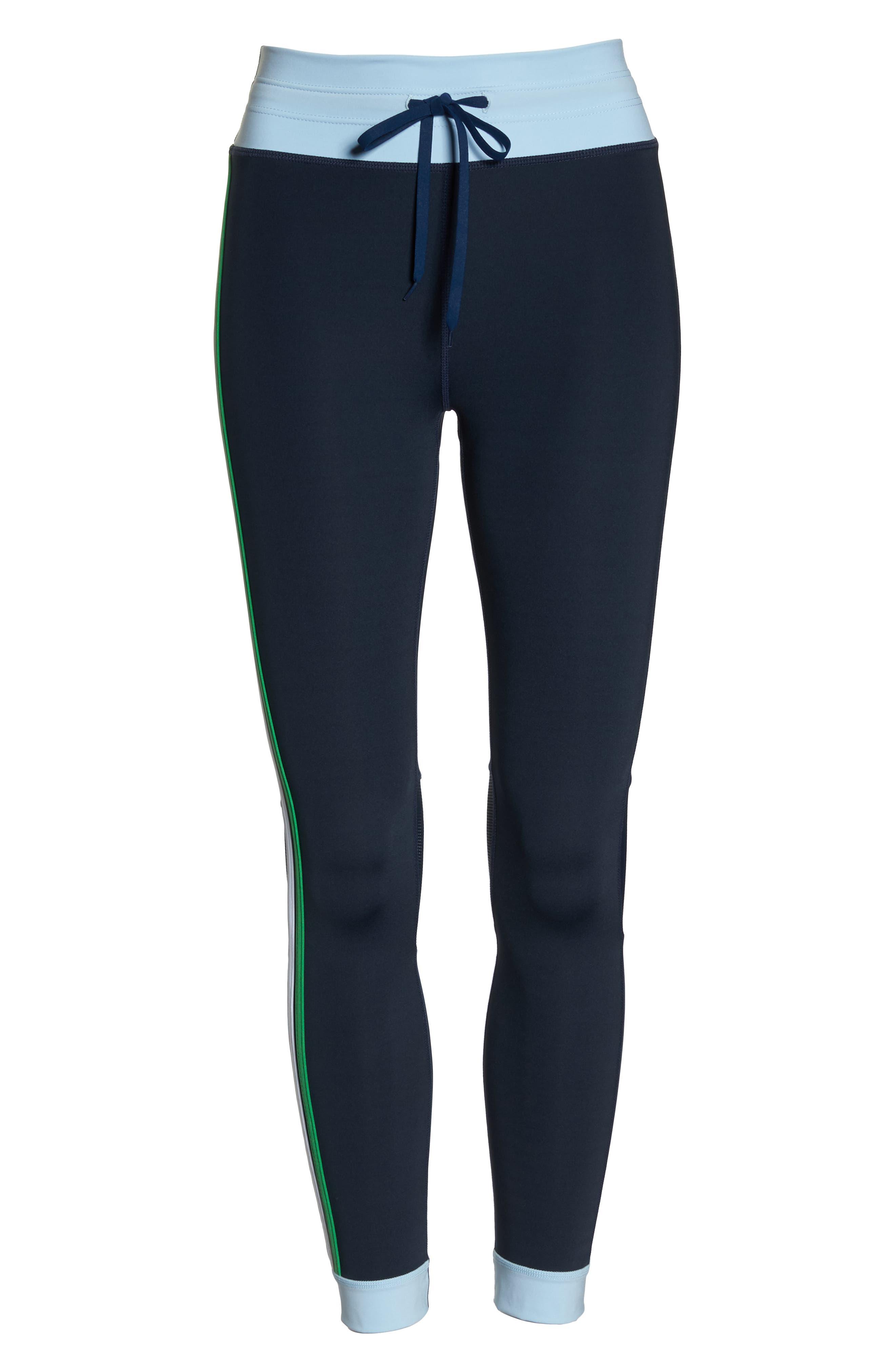 Colorblock Matte Midi Pants,                             Alternate thumbnail 7, color,                             INDIGO/ PALE BLUE