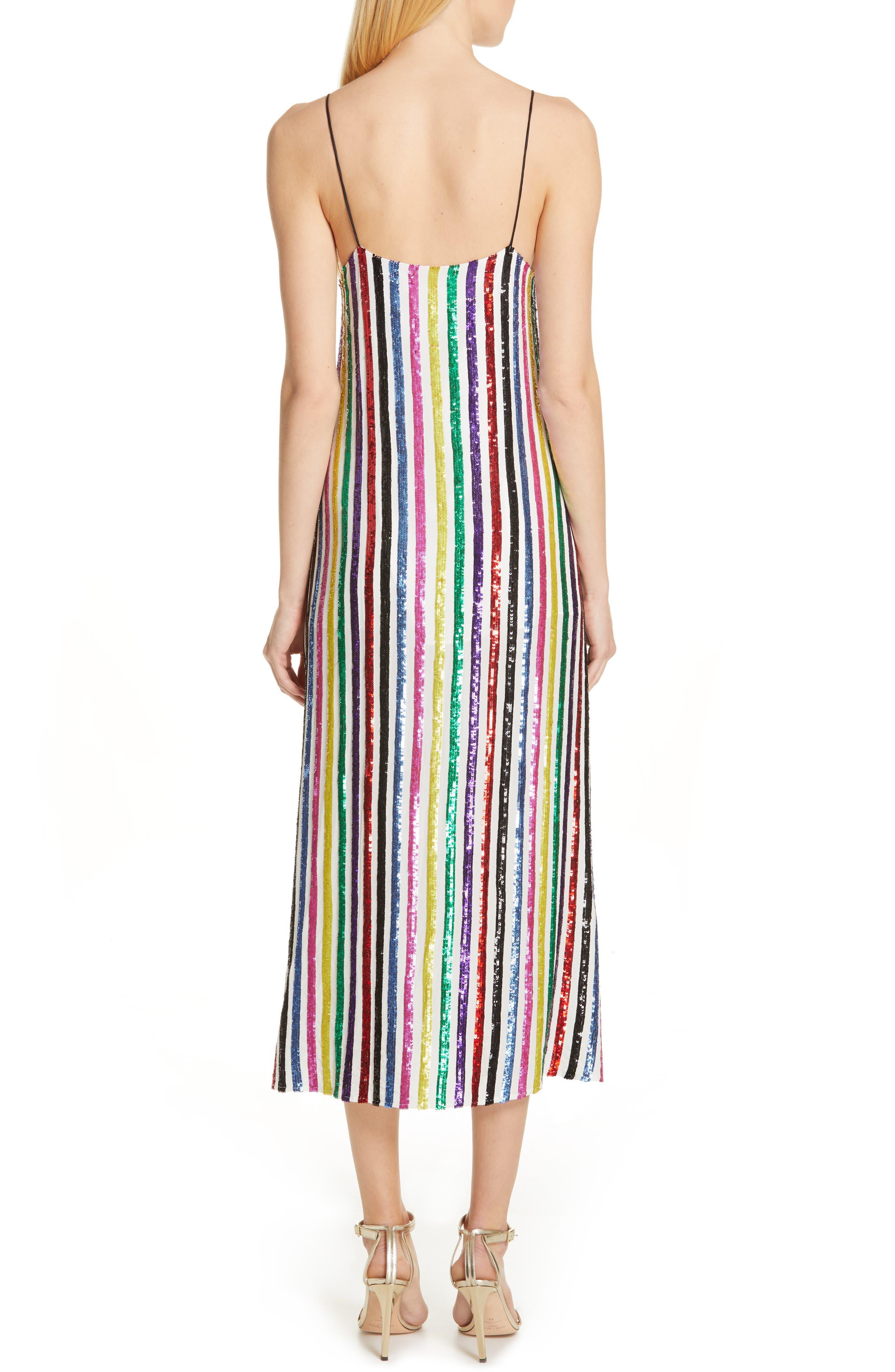 CAROLINE CONSTAS,                             Sequin Stripe Midi Slipdress,                             Alternate thumbnail 2, color,                             WHITE MULTI