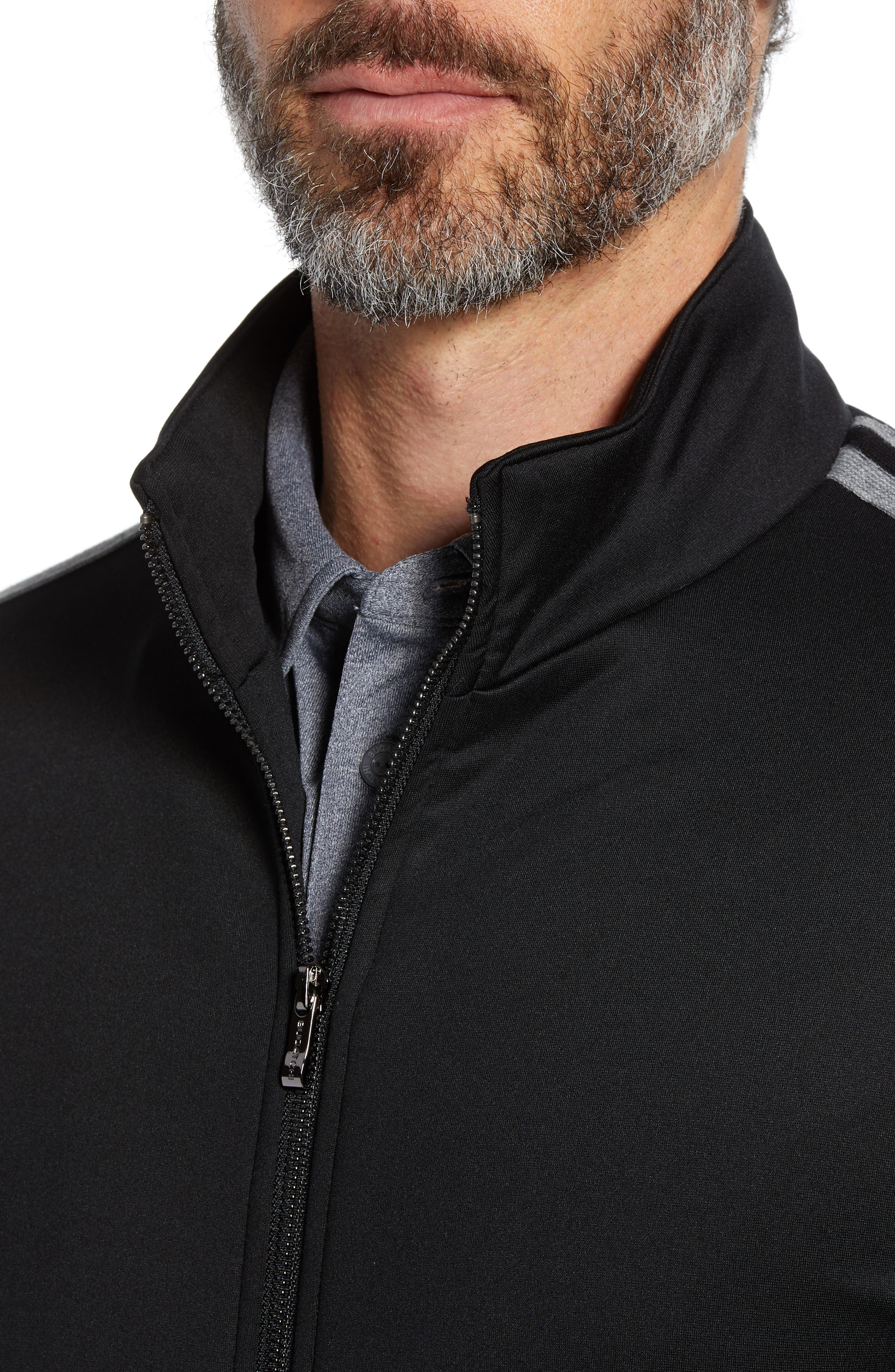 Knit Zip Jacket,                             Alternate thumbnail 4, color,                             BLACK