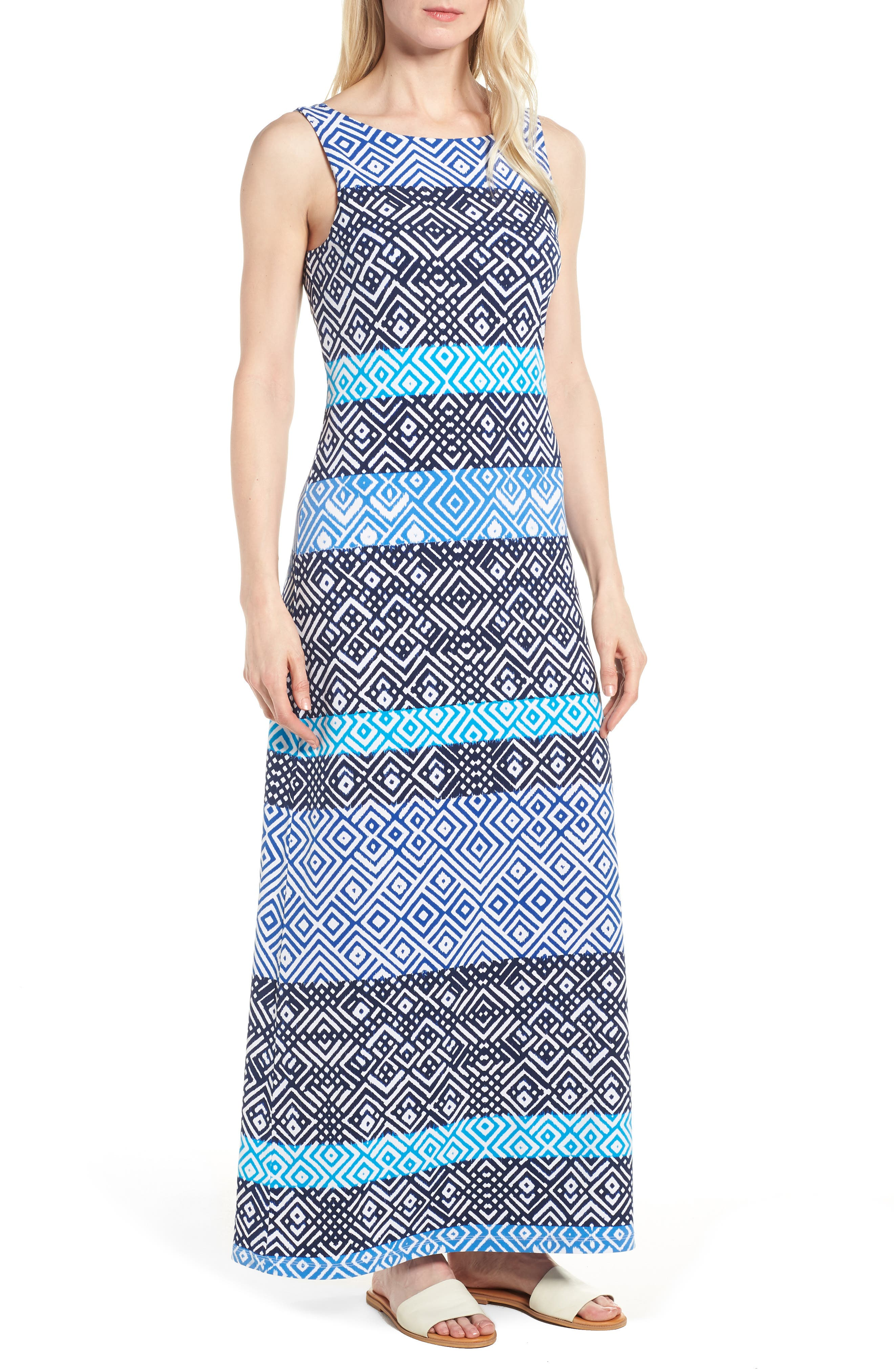 TOMMY BAHAMA Mayan Maze Maxi Dress, Main, color, OCEAN DEEP