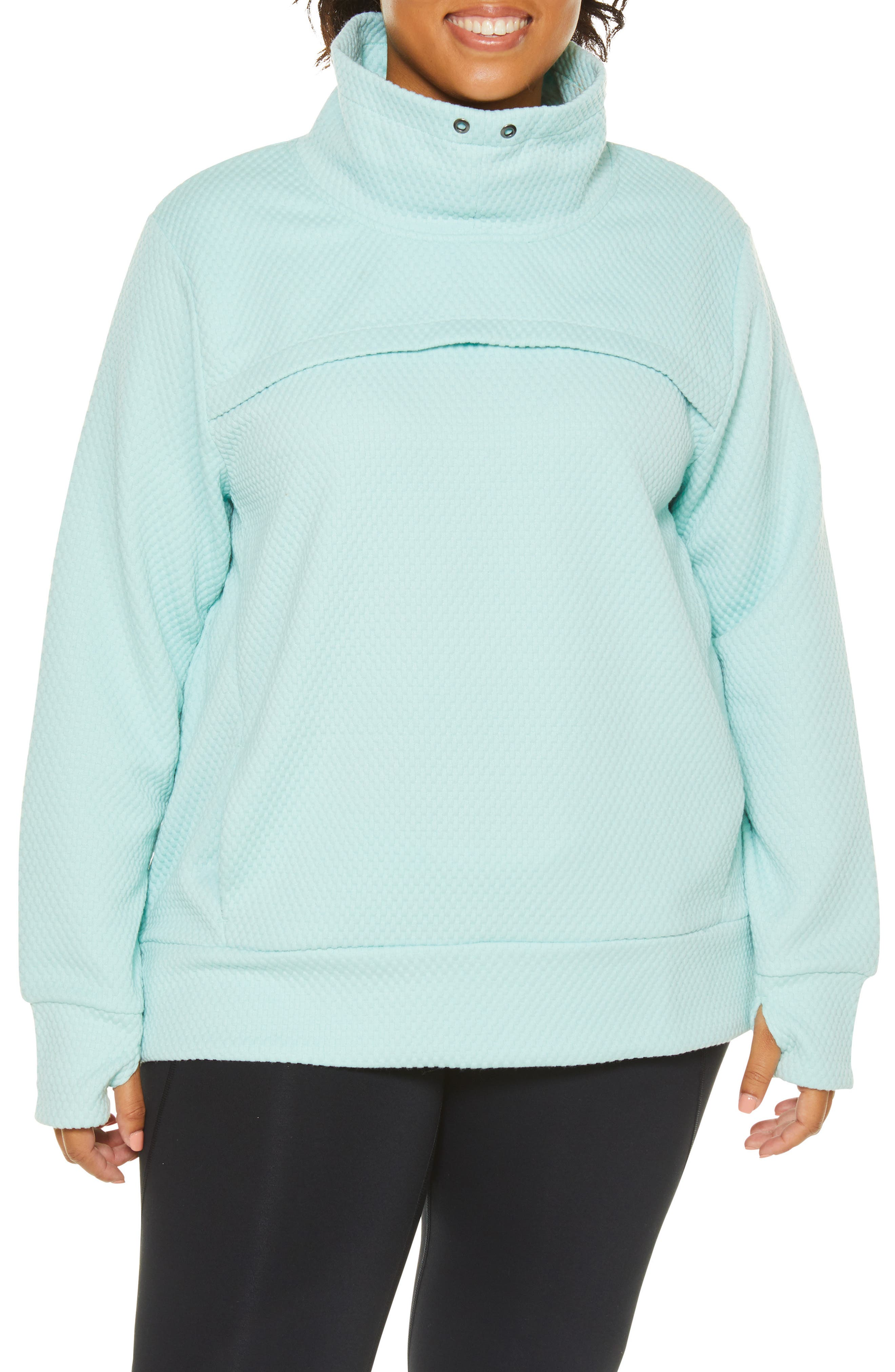 Plus Size Shape Activewear Overcast Pullover, Blue/green