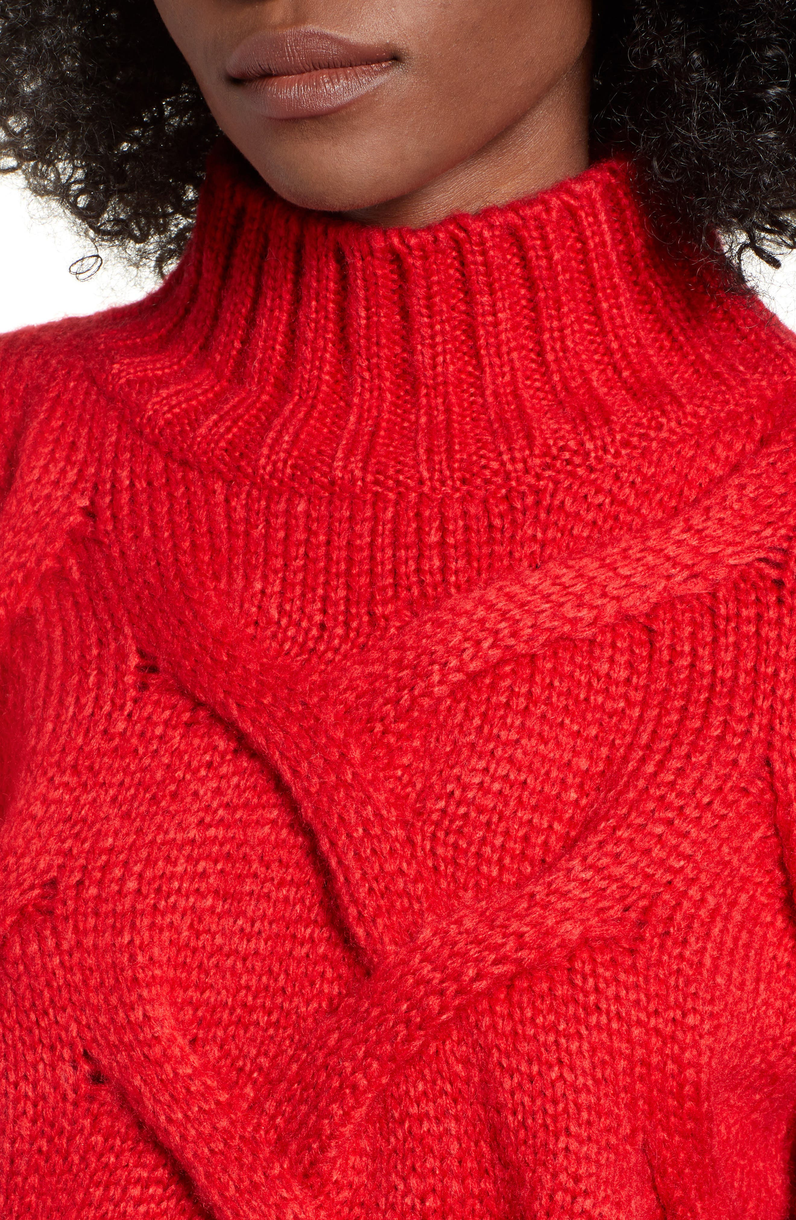 Cable Mock Neck Sweater,                             Alternate thumbnail 4, color,                             RED