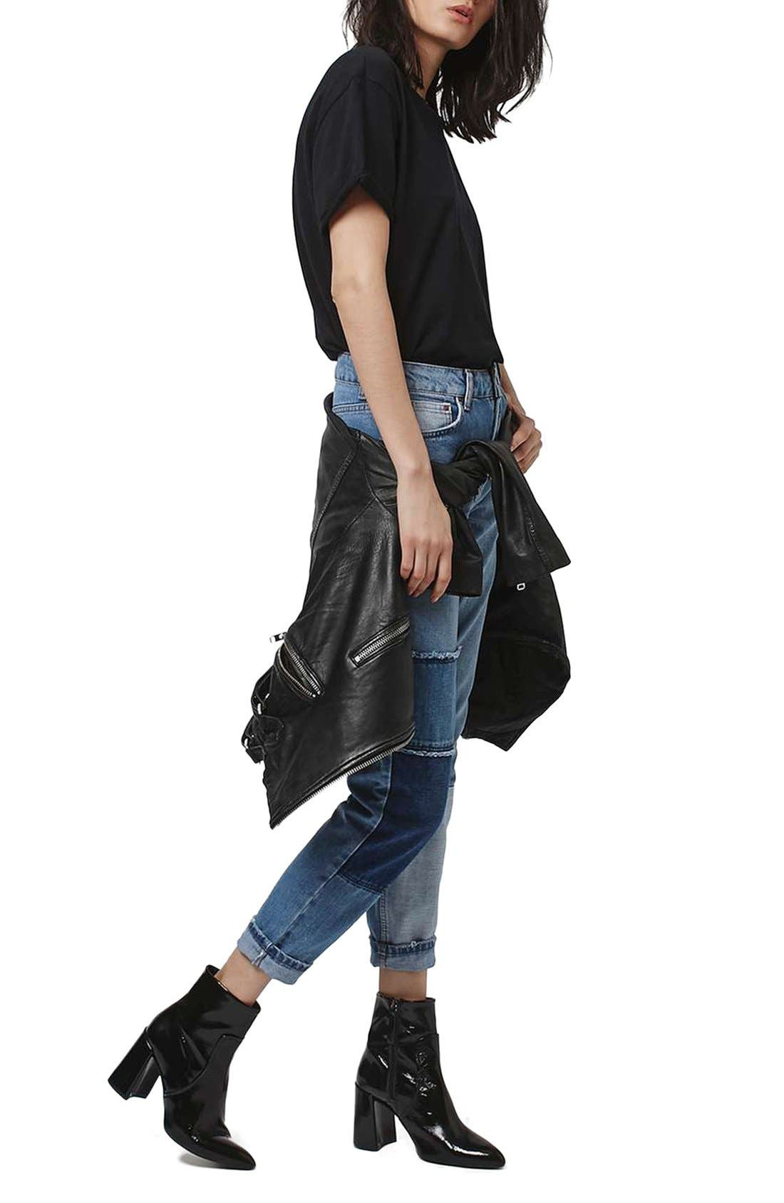 Mom Patchwork High Rise Jeans,                             Alternate thumbnail 4, color,                             400