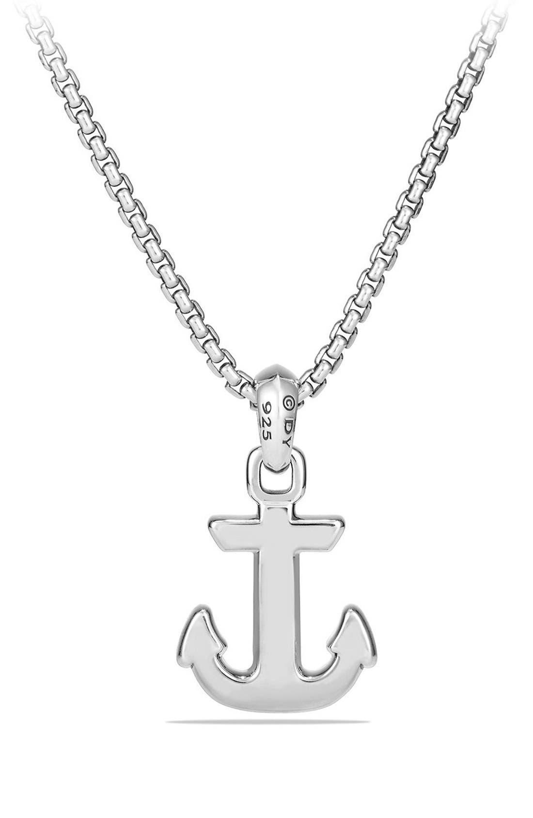 'Maritime' Anchor Amulet,                             Alternate thumbnail 3, color,                             SILVER/ BLACK DIAMOND