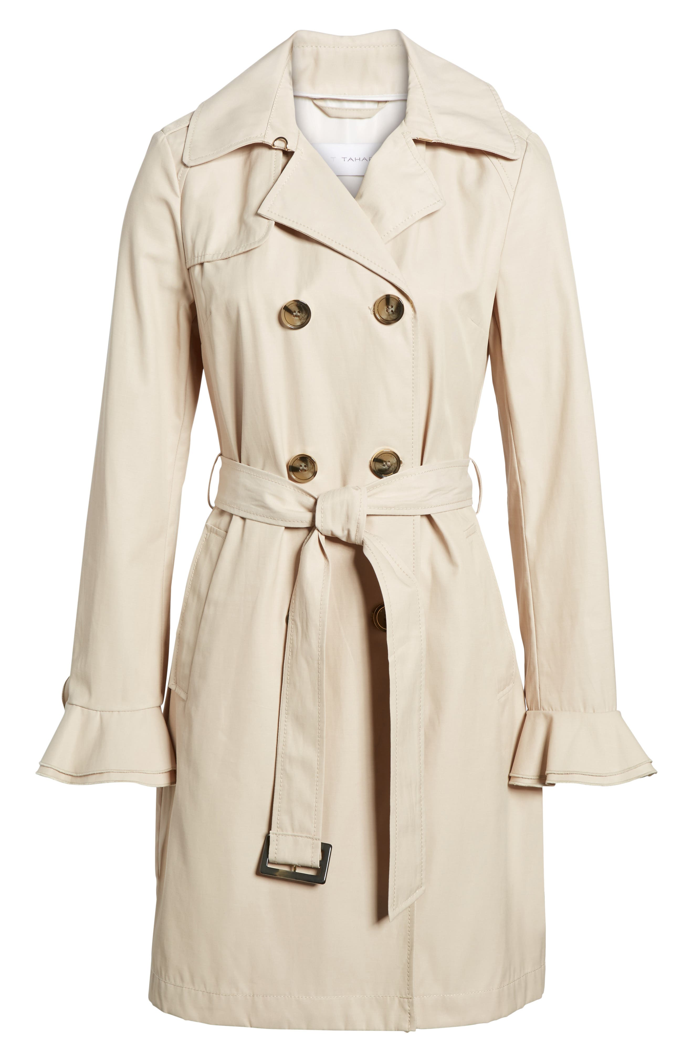 Stella Ruffle Sleeve Trench Coat,                             Alternate thumbnail 6, color,                             250