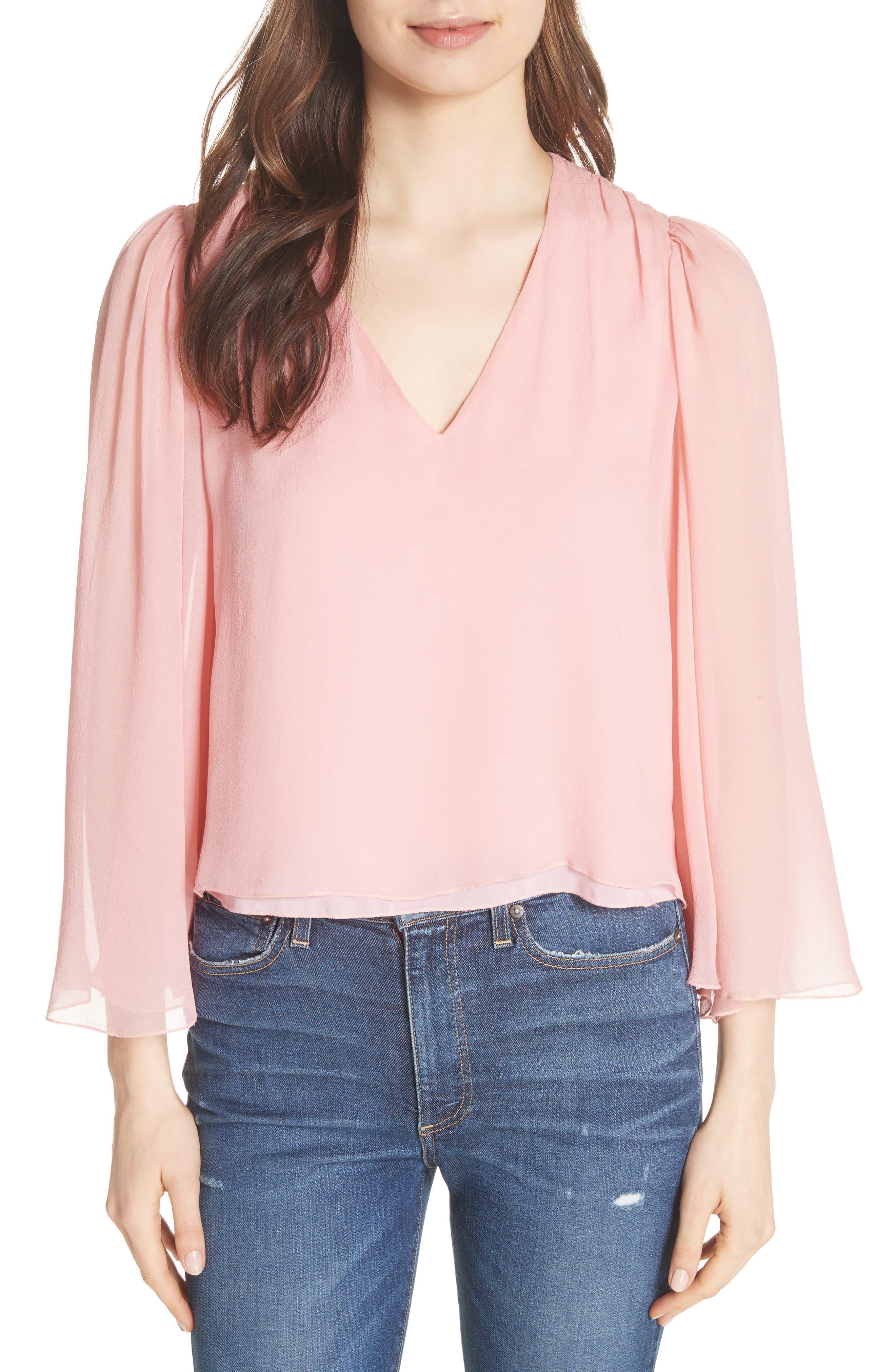 Jerrica Bell Sleeve Silk Blouse,                         Main,                         color,
