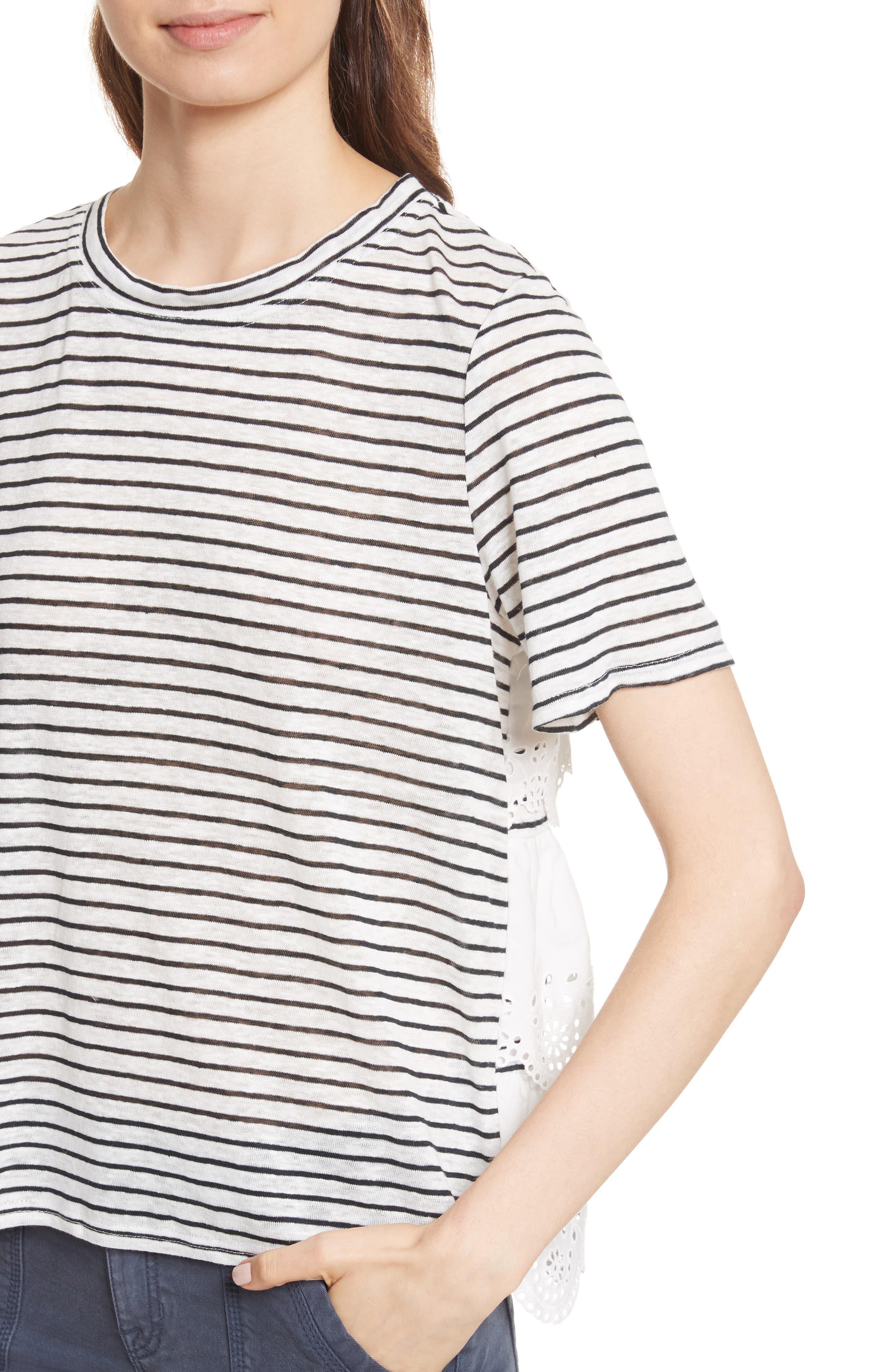 Mikiyo Stripe Linen Tee,                             Alternate thumbnail 4, color,                             131