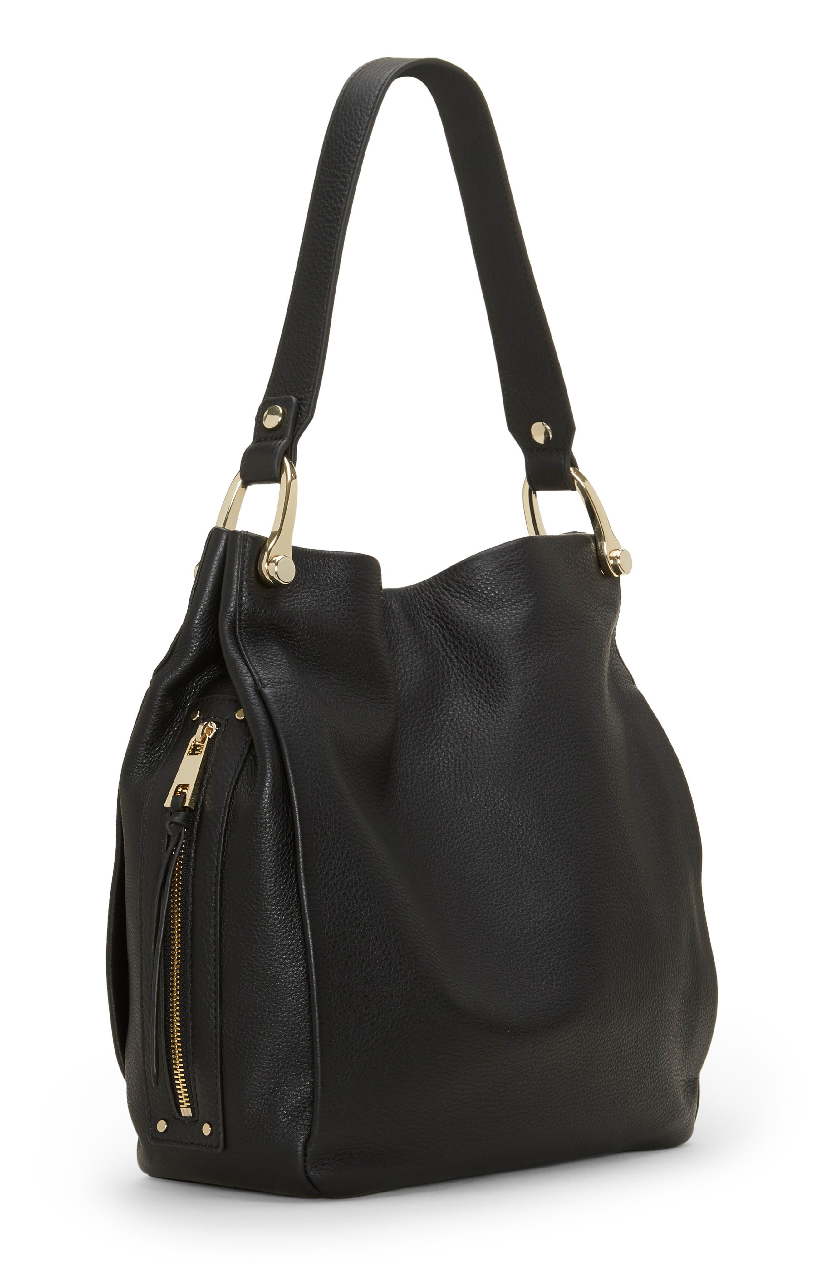Clem Leather Hobo Bag,                             Alternate thumbnail 4, color,                             BLACK