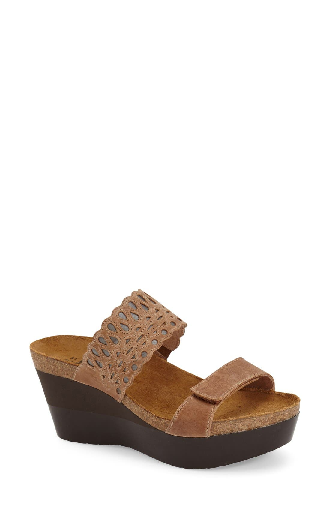 'Rise' Platform Wedge Sandal,                             Main thumbnail 1, color,                             LATTE BROWN LEATHER