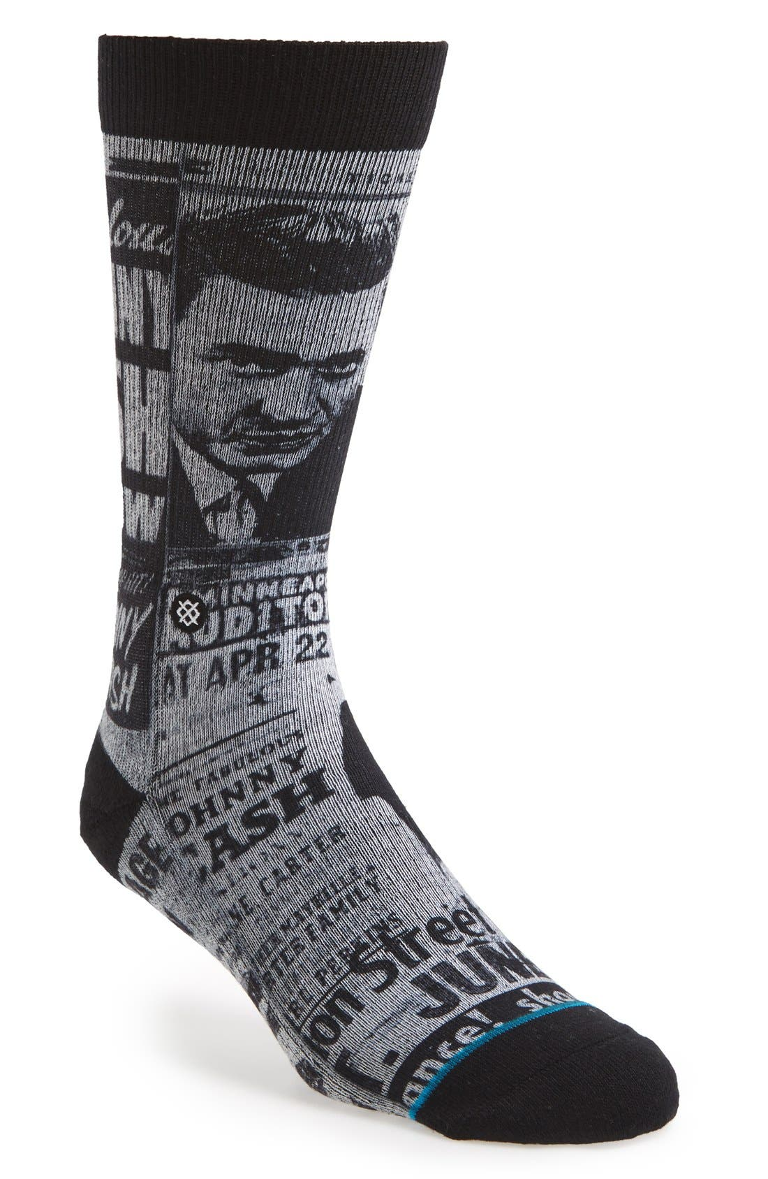 STANCE 'Johnny Cash - Cash Flyer' Socks, Main, color, 001
