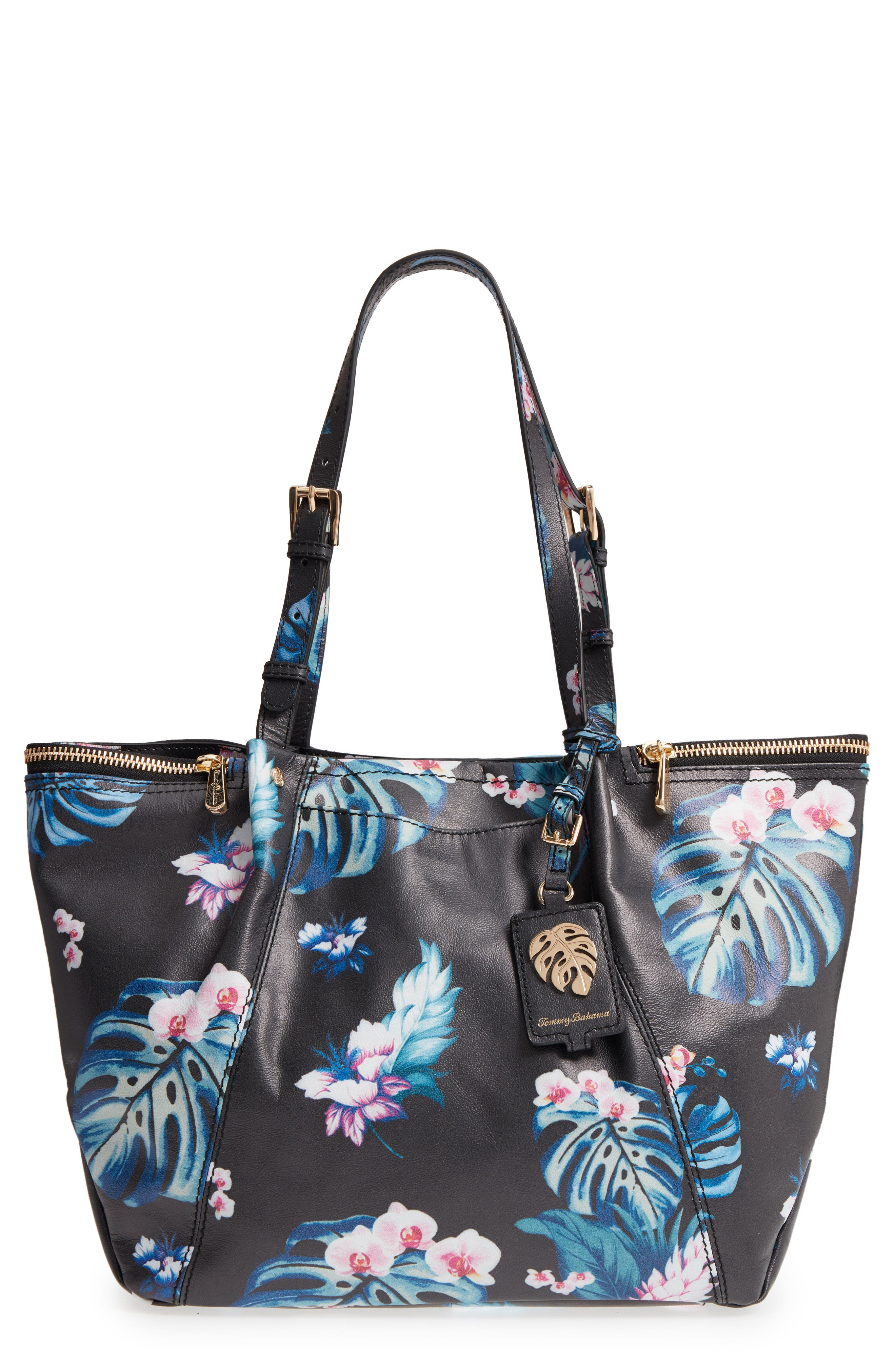 St. Lucia Printed Leather Tote,                         Main,                         color, 001