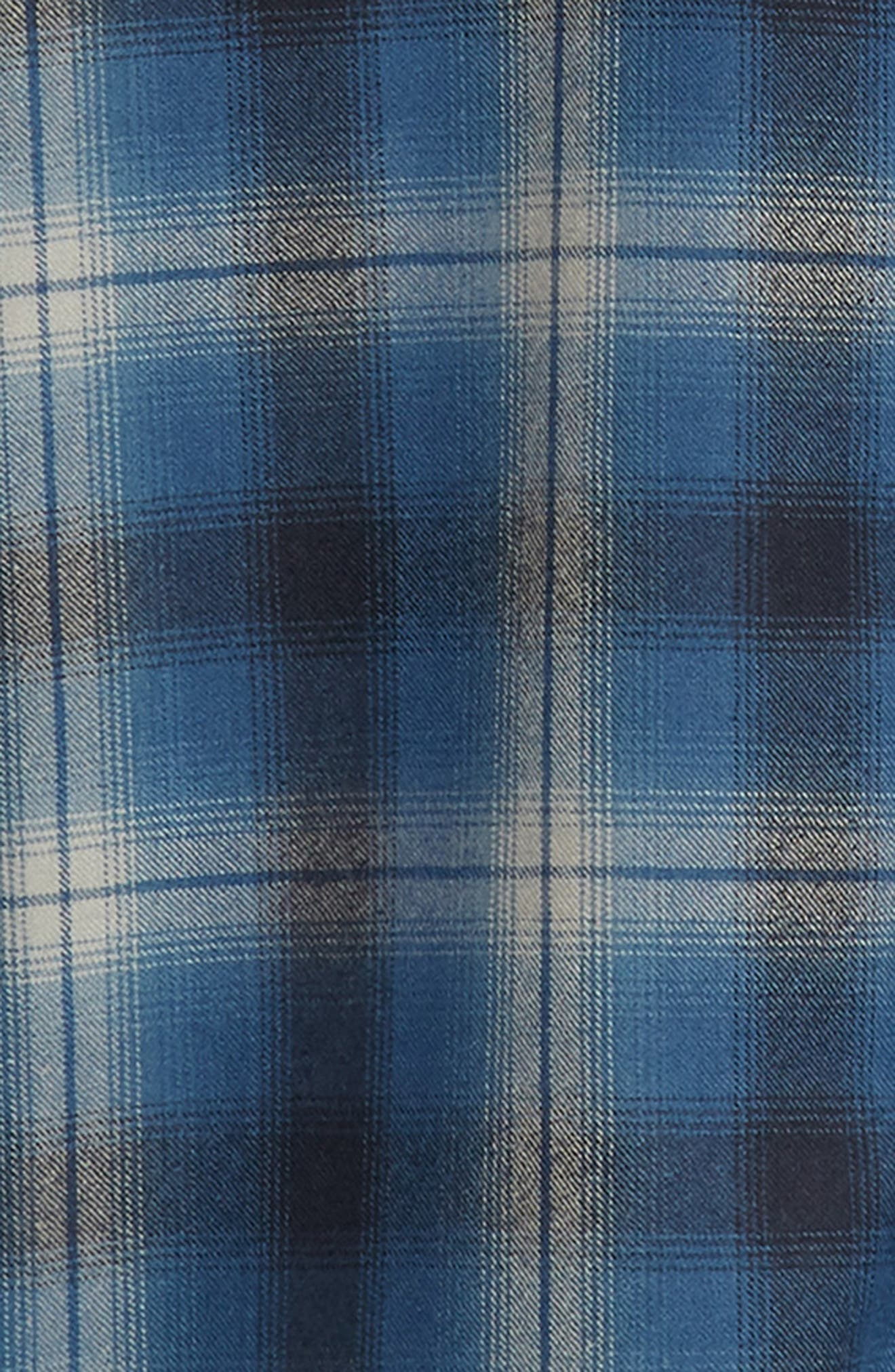 Zephyr Worsted Wool Flannel Shirt,                             Alternate thumbnail 6, color,                             BLUE OMBRE