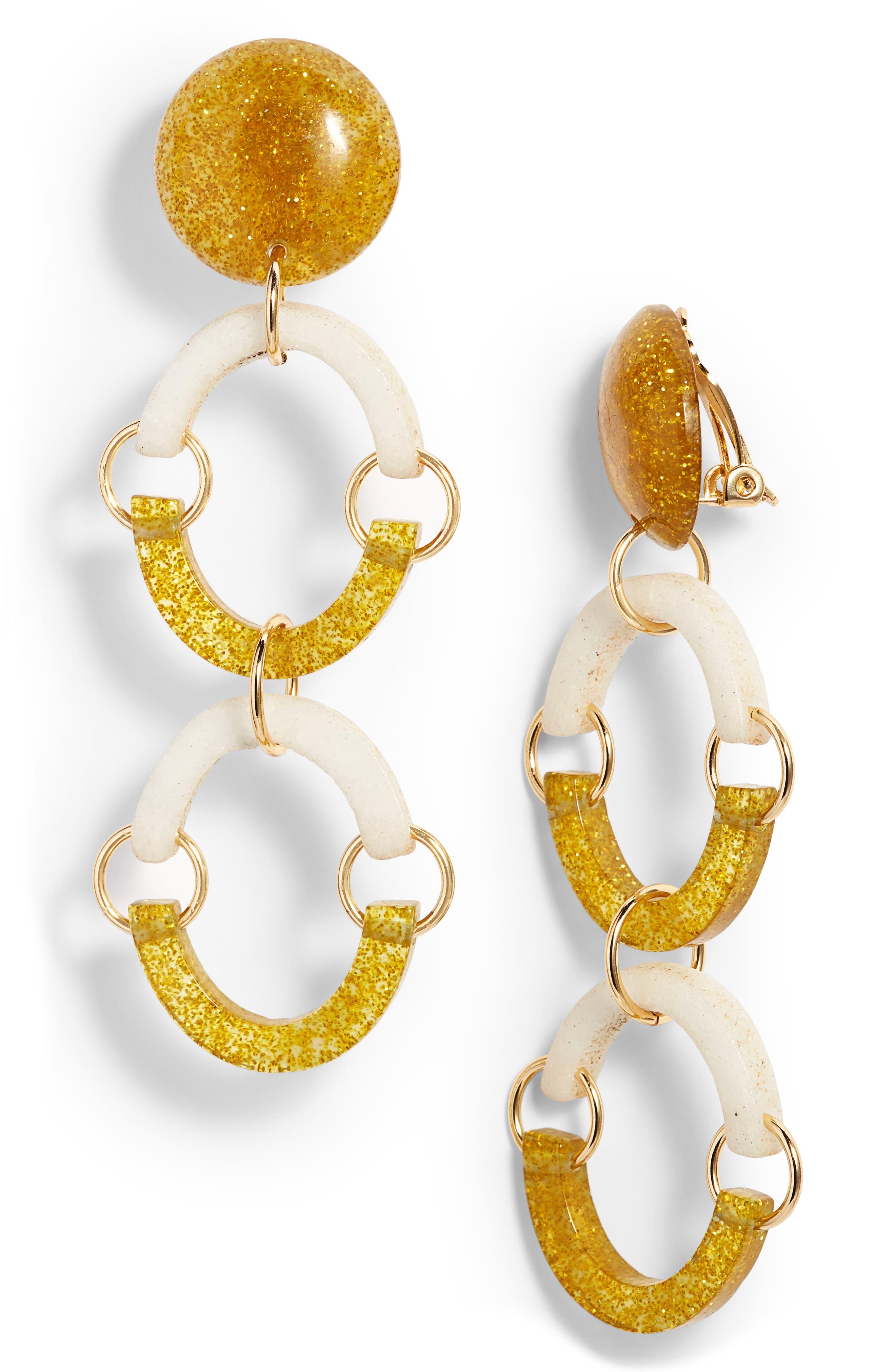 Confetti Rainbow Arch Clip Drop Earrings,                             Main thumbnail 1, color,                             100