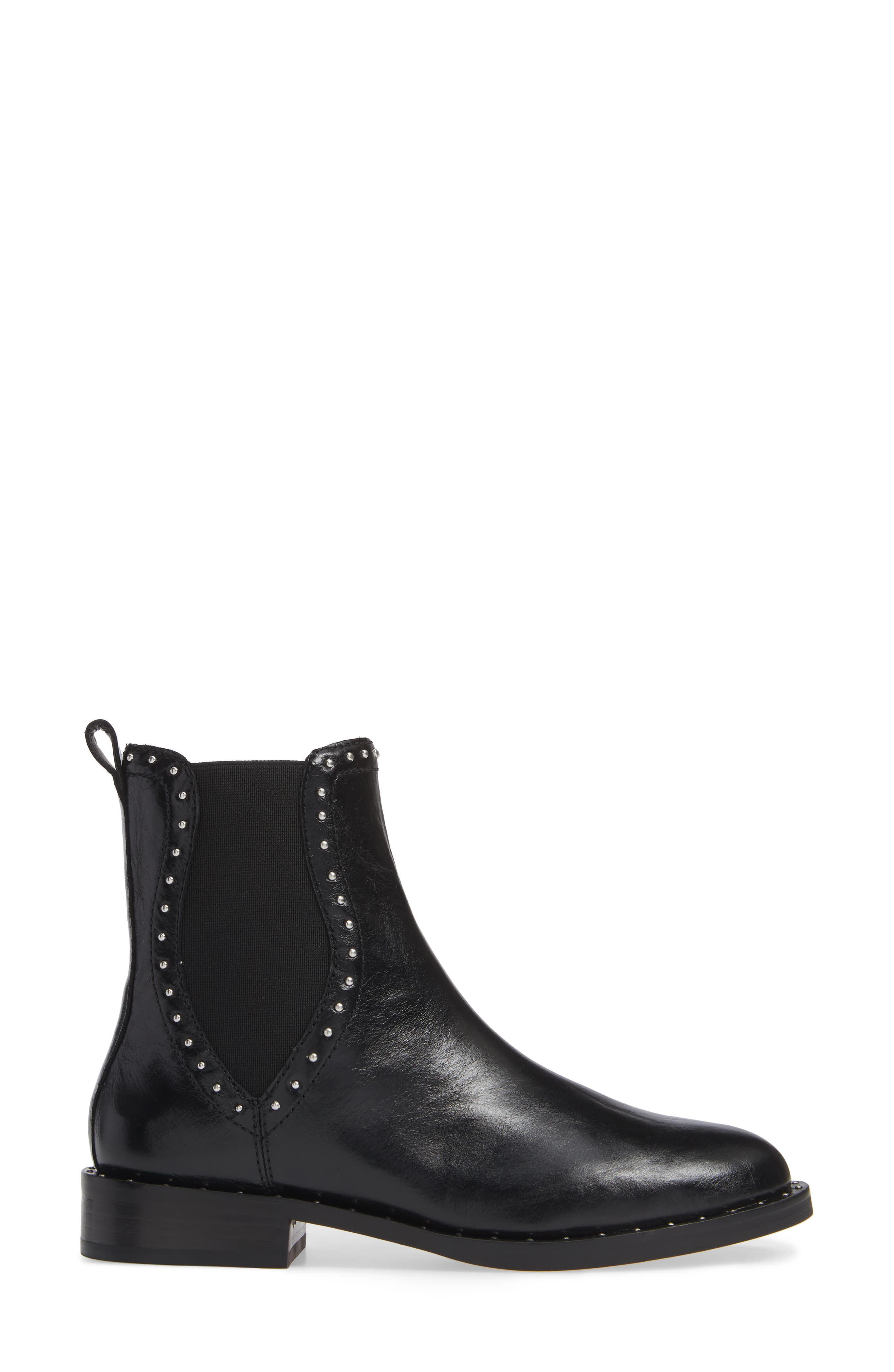 Sabeen Chelsea Bootie,                             Alternate thumbnail 3, color,                             BLACK LEATHER