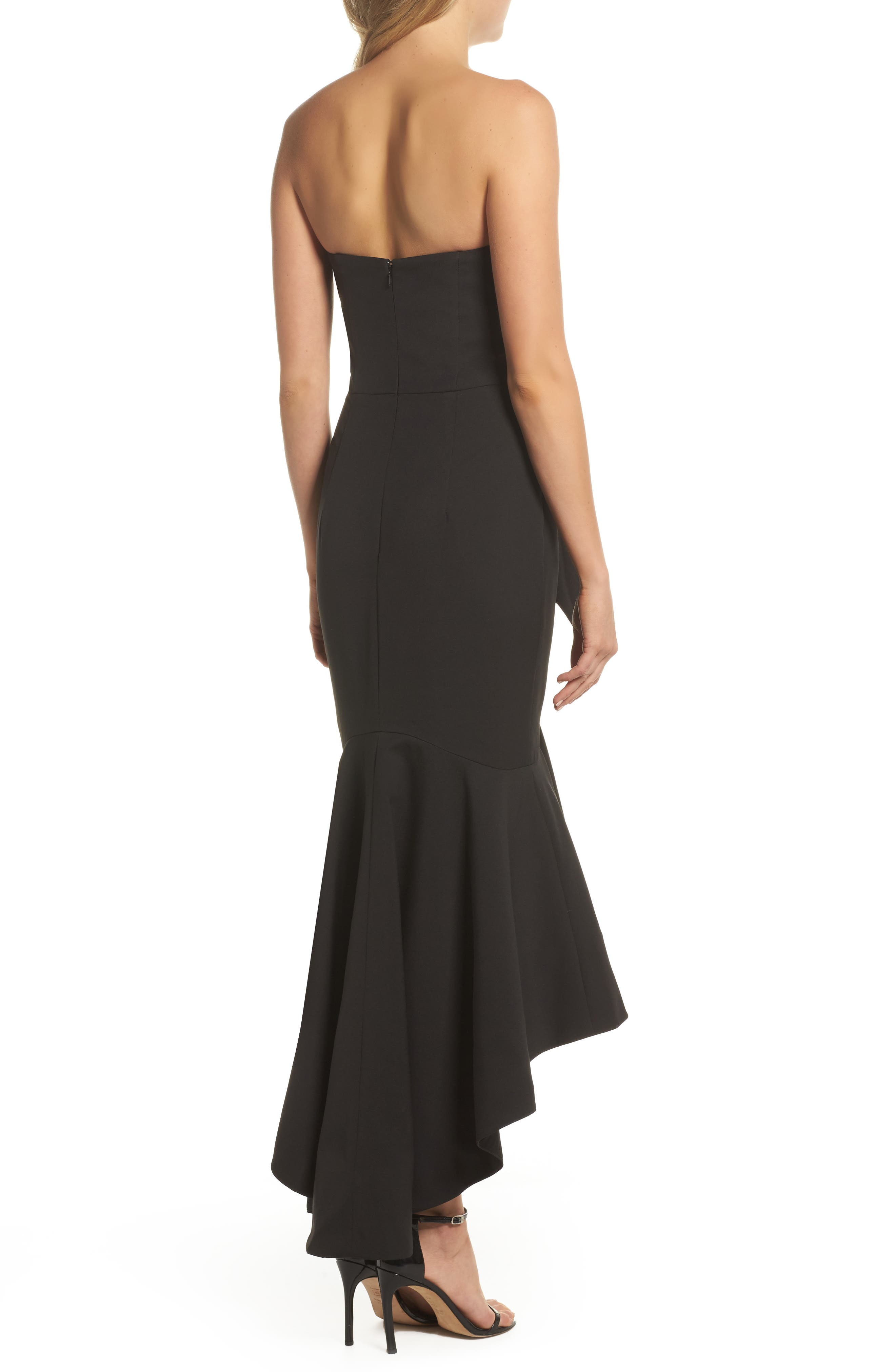 Freda Knotted Strapless Mermaid Gown,                             Alternate thumbnail 2, color,                             BLACK