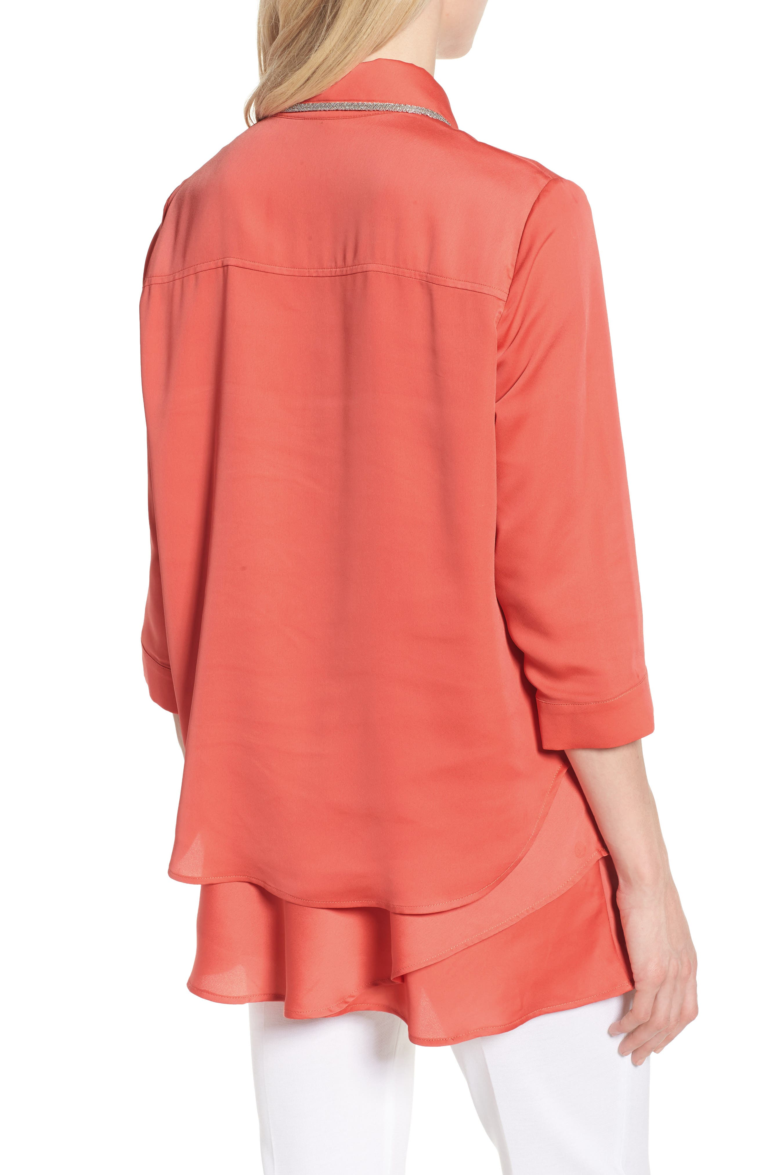 Tiered Tunic Shirt,                             Alternate thumbnail 2, color,                             DAYLILY