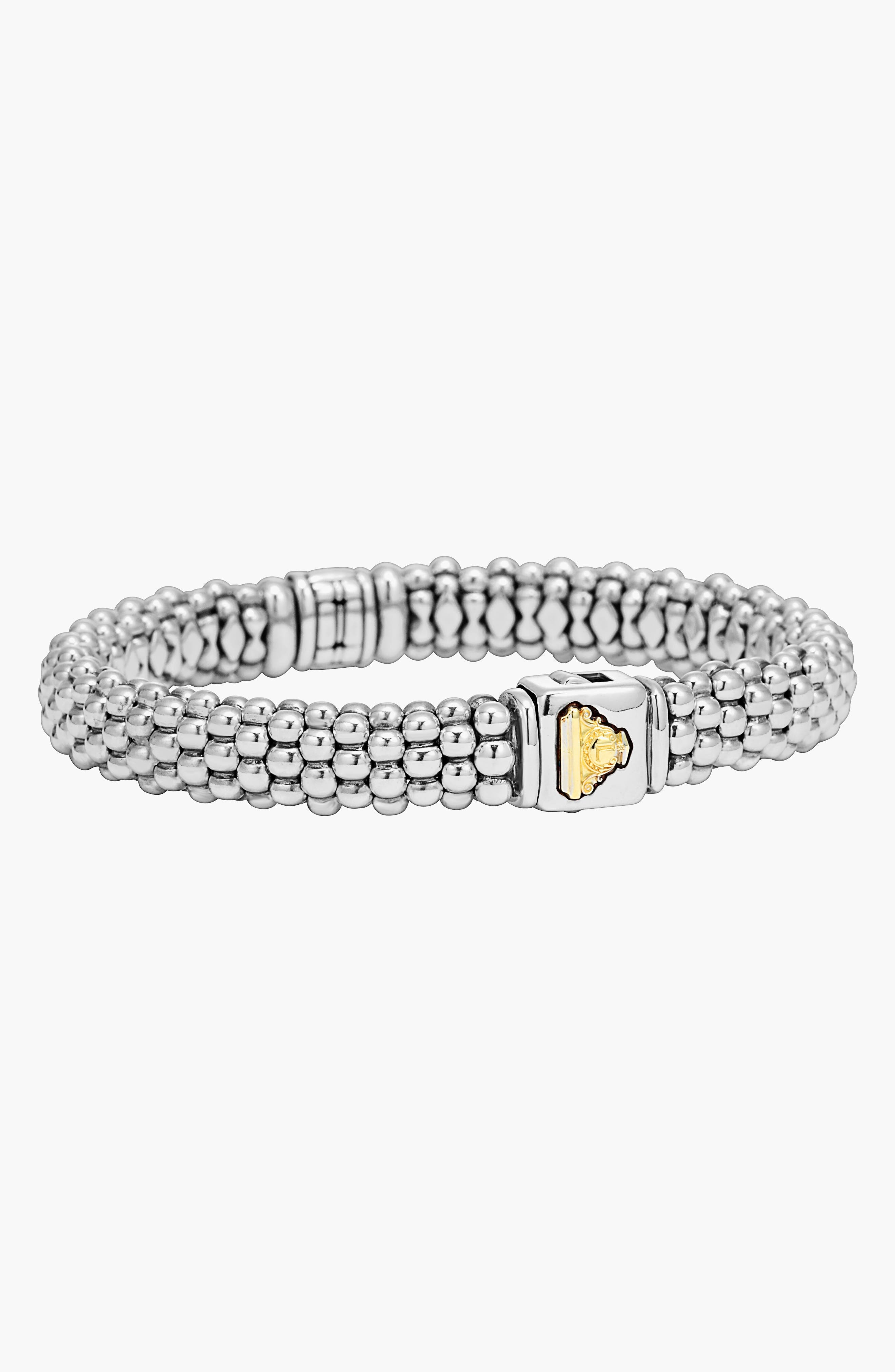 Caviar & Diamond Bracelet,                             Alternate thumbnail 6, color,                             STERLING SILVER/ GOLD