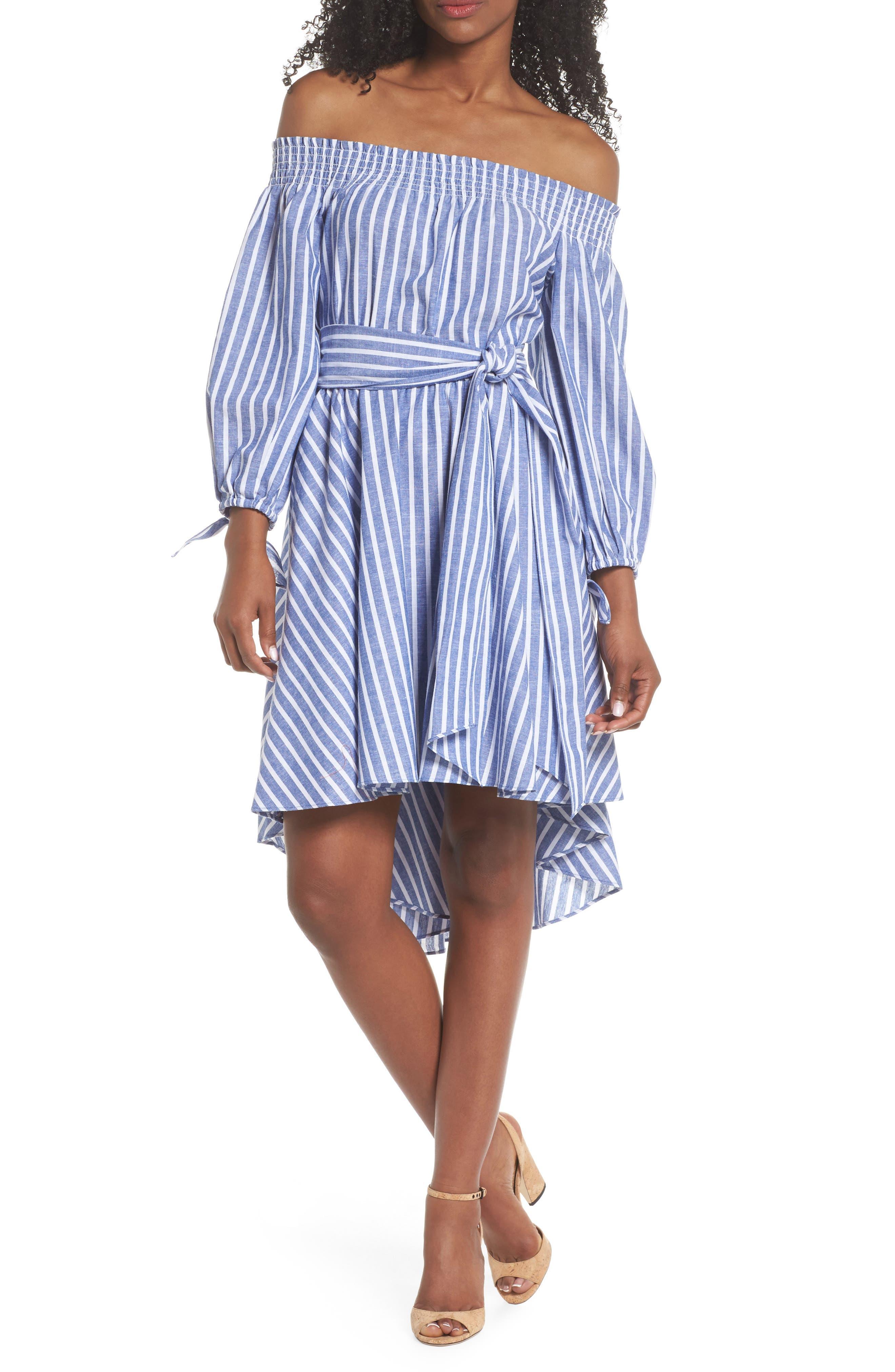 Off the Shoulder Tie Waist Dress,                         Main,                         color, 407