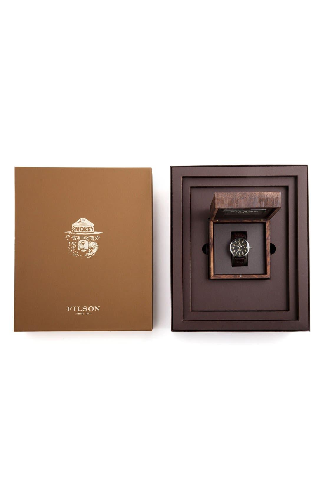 SHINOLA,                             x Filson The Smokey Bear Leather Strap Watch Gift Set, 43mm,                             Alternate thumbnail 5, color,                             200