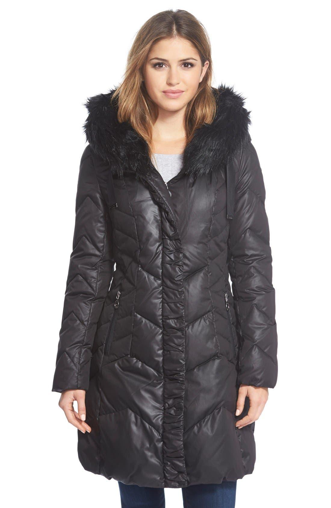 'Mia' FauxFur Trim Hooded Down Coat, Main, color, 001