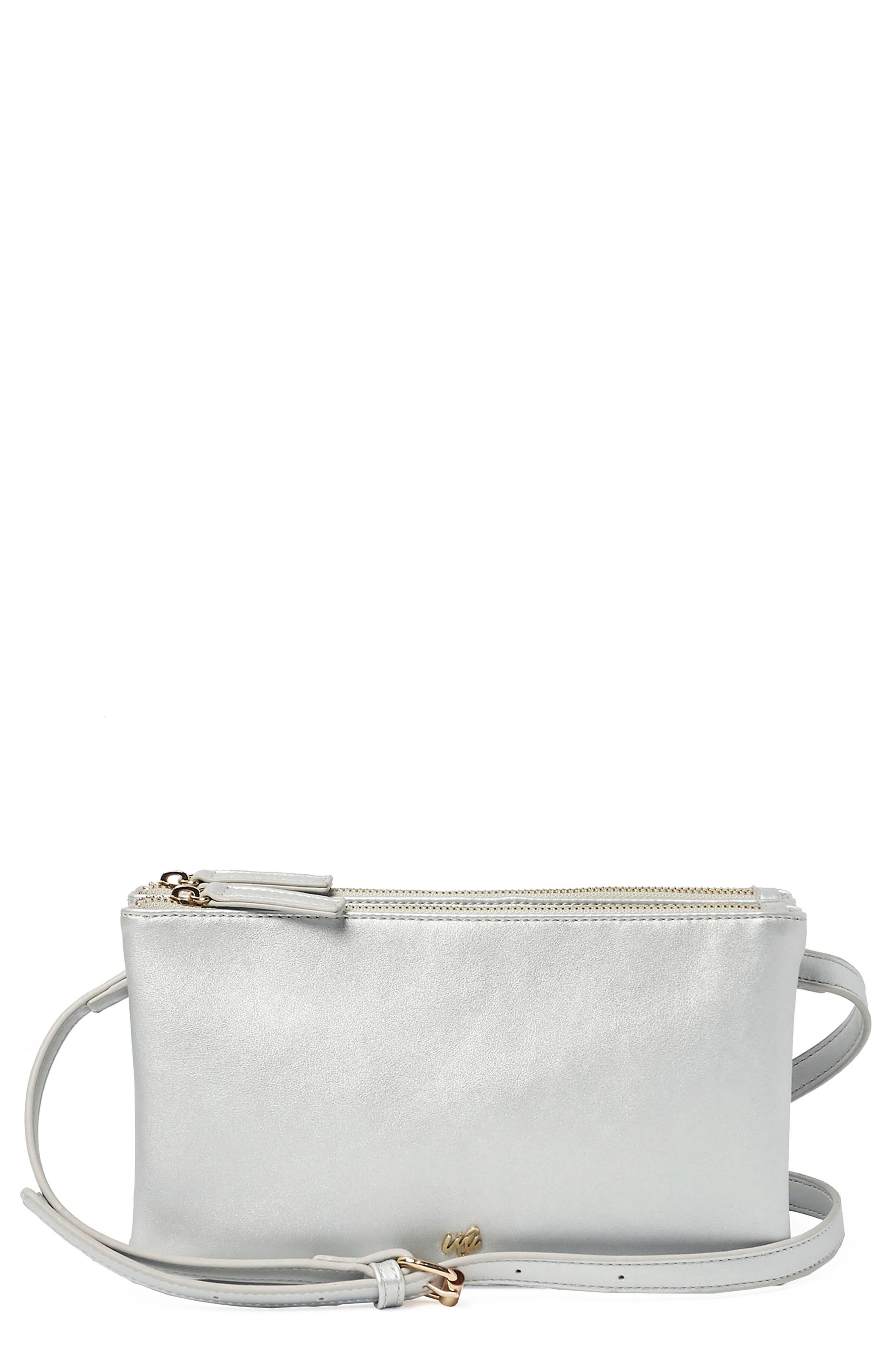 The Enchanted Vegan Leather Crossbody Bag,                         Main,                         color, SILVER