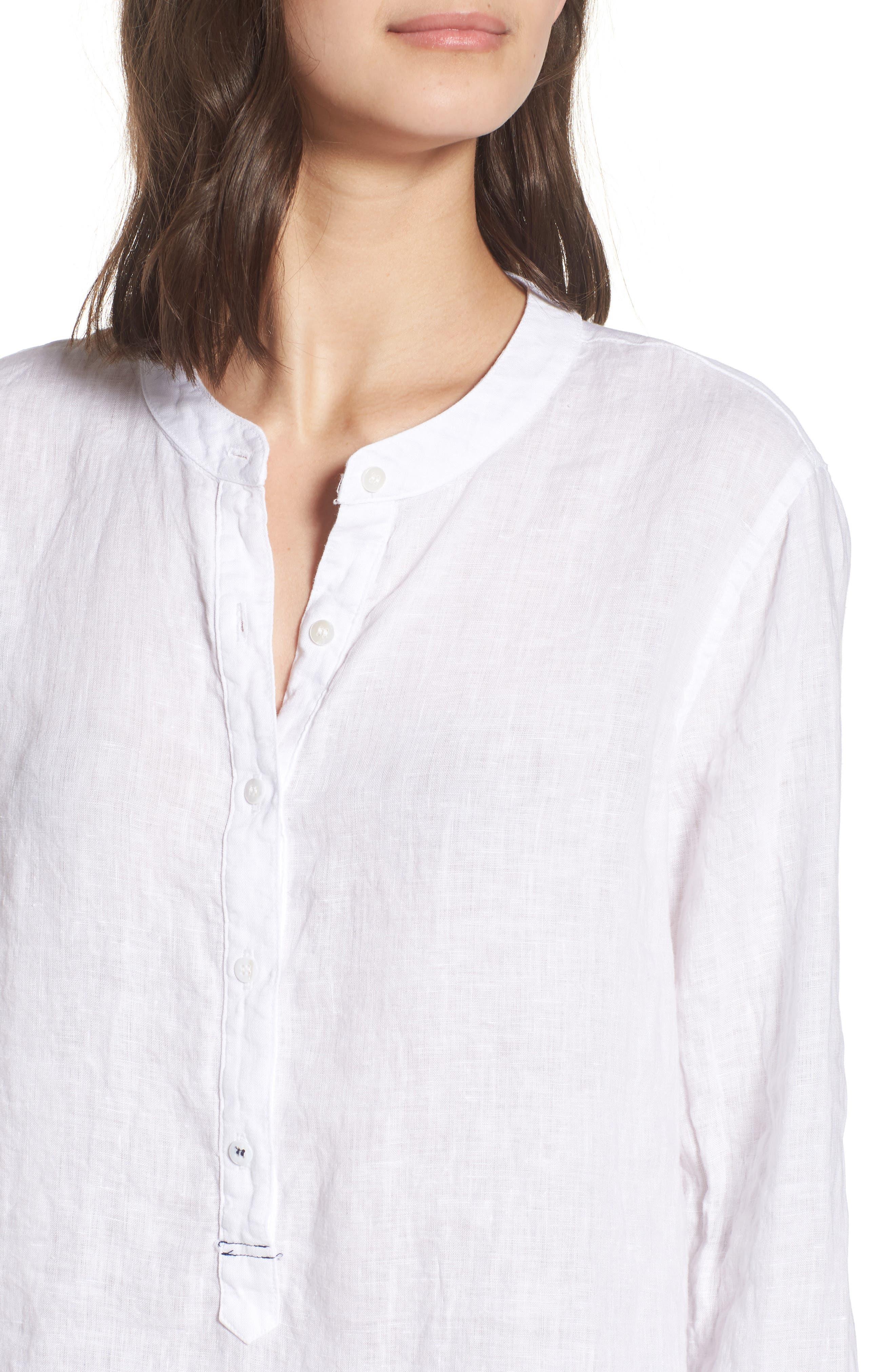 Linen Henley Shirt,                             Alternate thumbnail 4, color,                             100