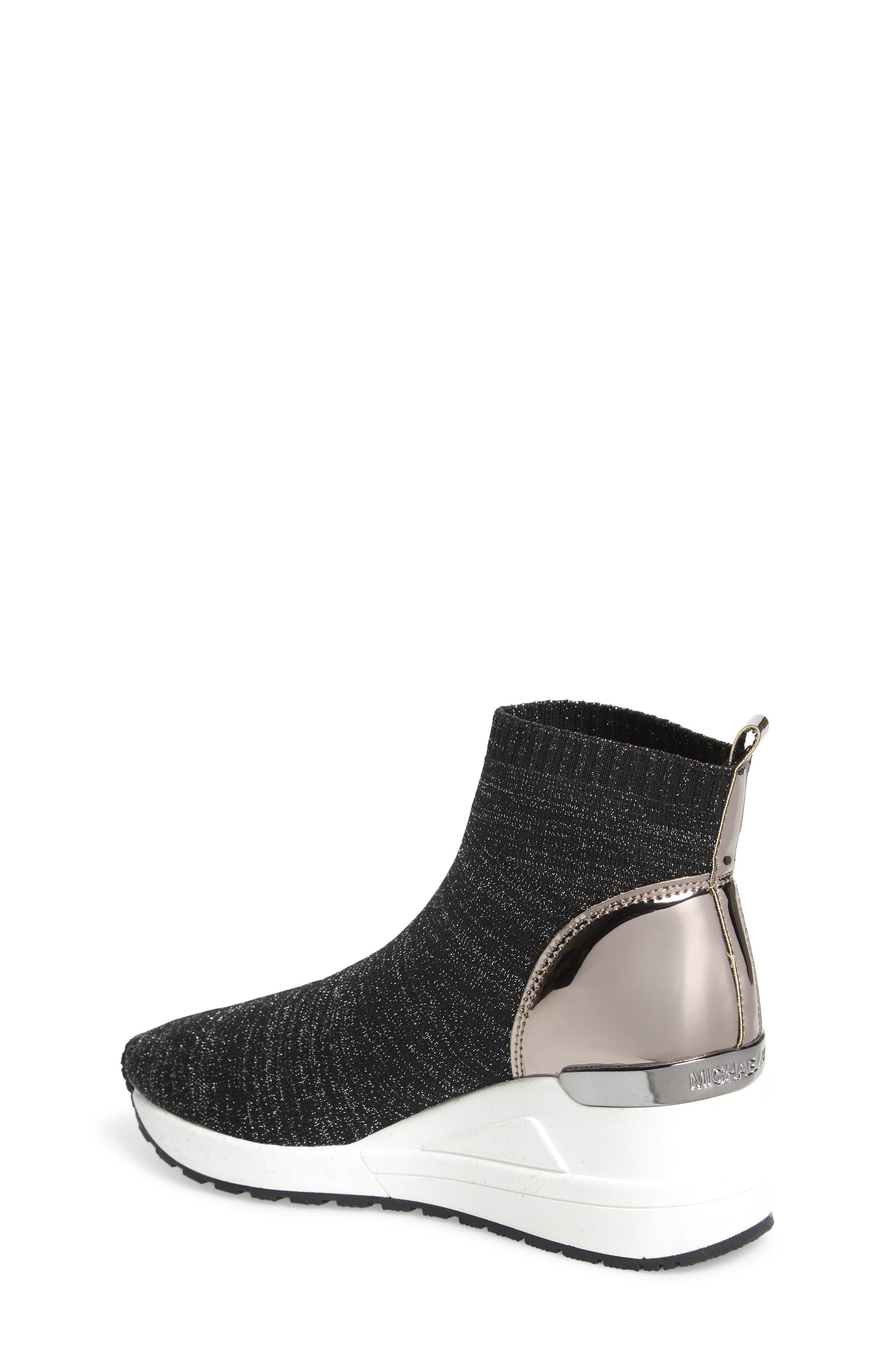 Neo Flex Metallic Wedge Sneaker,                             Alternate thumbnail 2, color,                             BLACK METALLIC