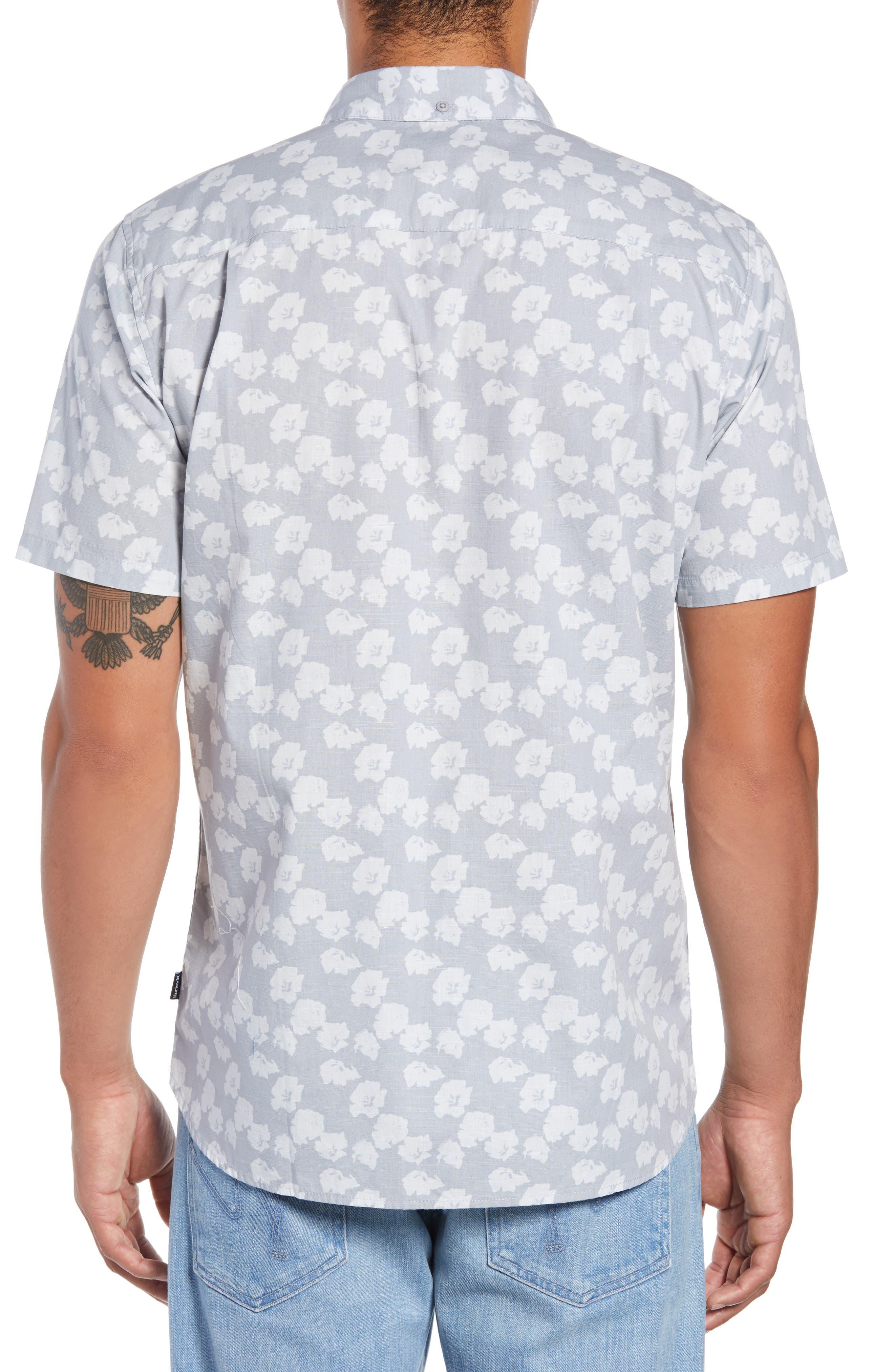 Beachside Swarm Print Woven Shirt,                             Alternate thumbnail 3, color,                             WOLF GREY