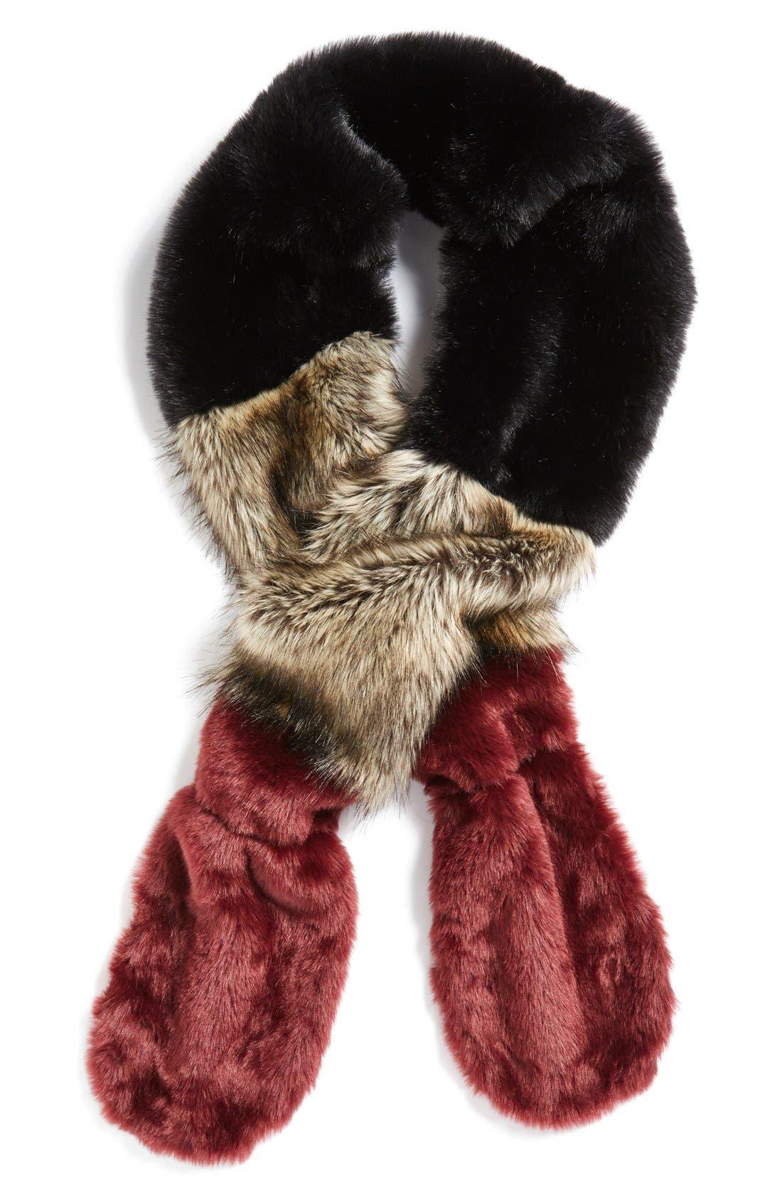 LEITH Colorblock Faux Fur Stole, Main, color, 001