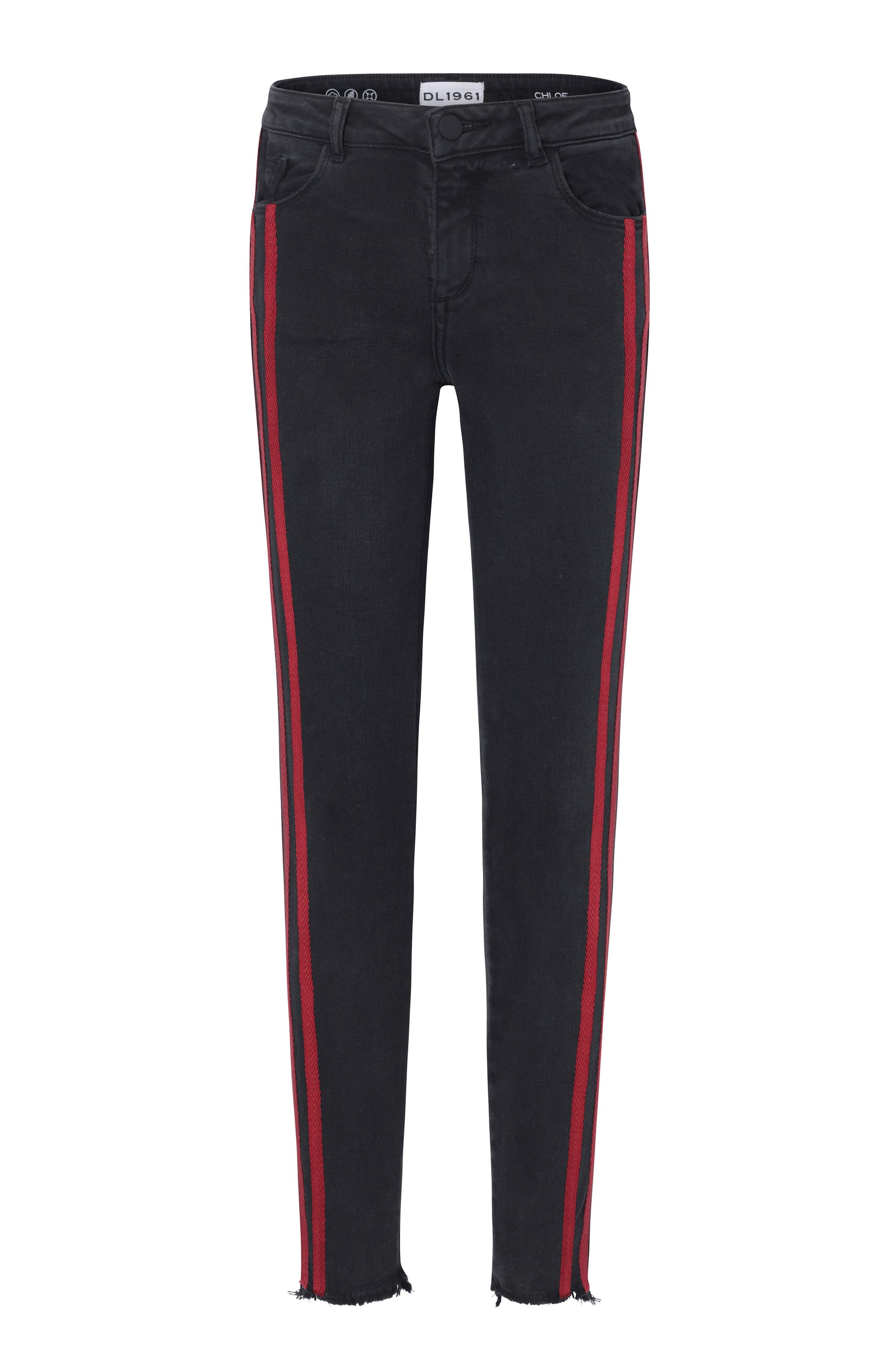 Side Stripe Skinny Jeans,                             Main thumbnail 1, color,                             POP BLACK